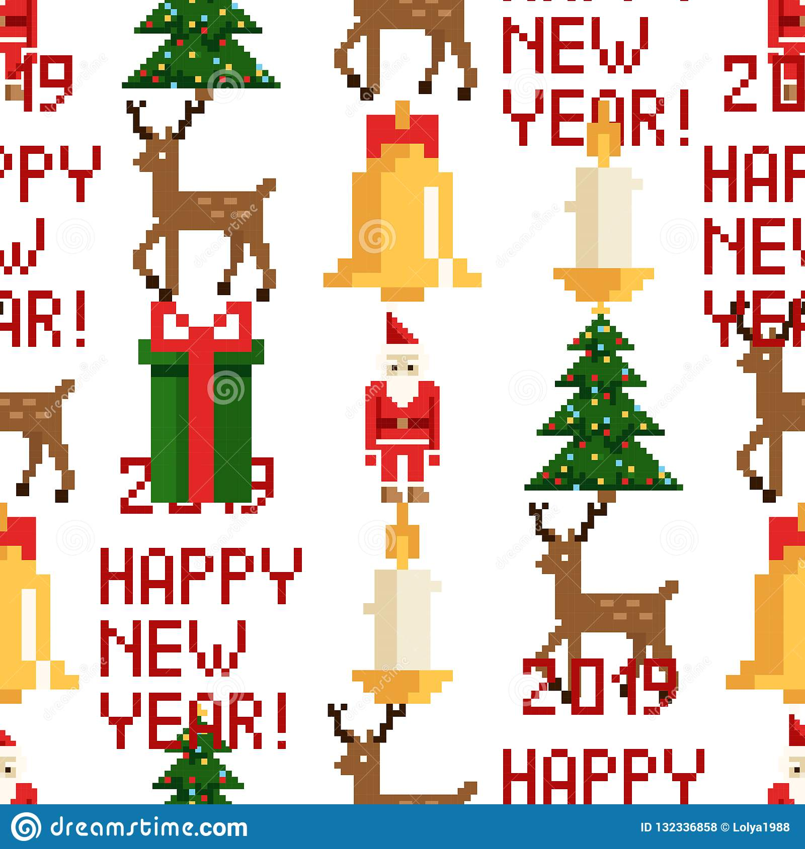 90s Christmas Background.Colorful Pixel Pattern With Christmas Elements Atcade Games Style
