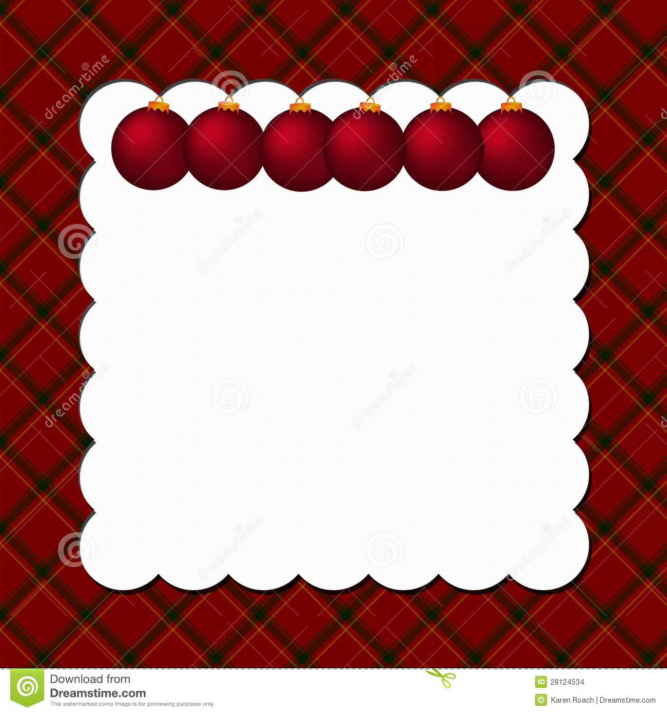 Christmas Plaid Background With Ornaments Stock Images - Image: 28124534