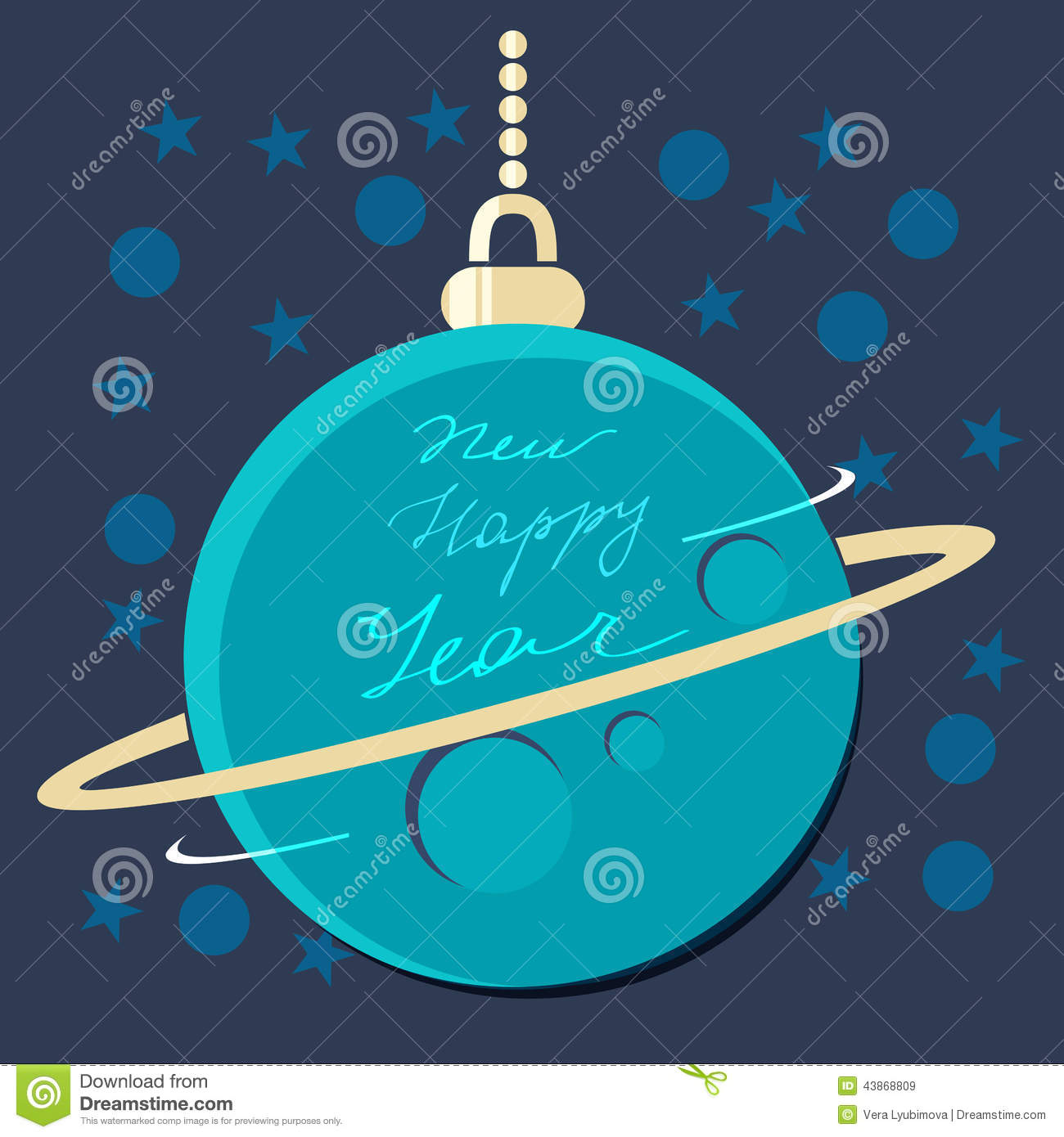 Christmas planet bauble with new year greeting stock for Outer space planning and design