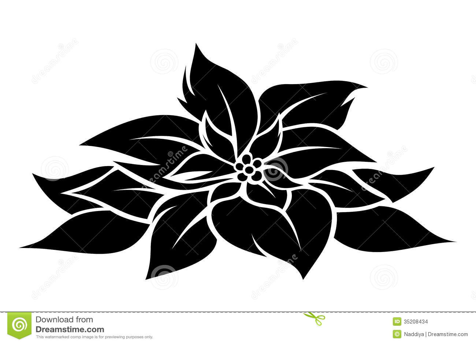 Black silhouette of Christmas poinsettia flower on a white background.