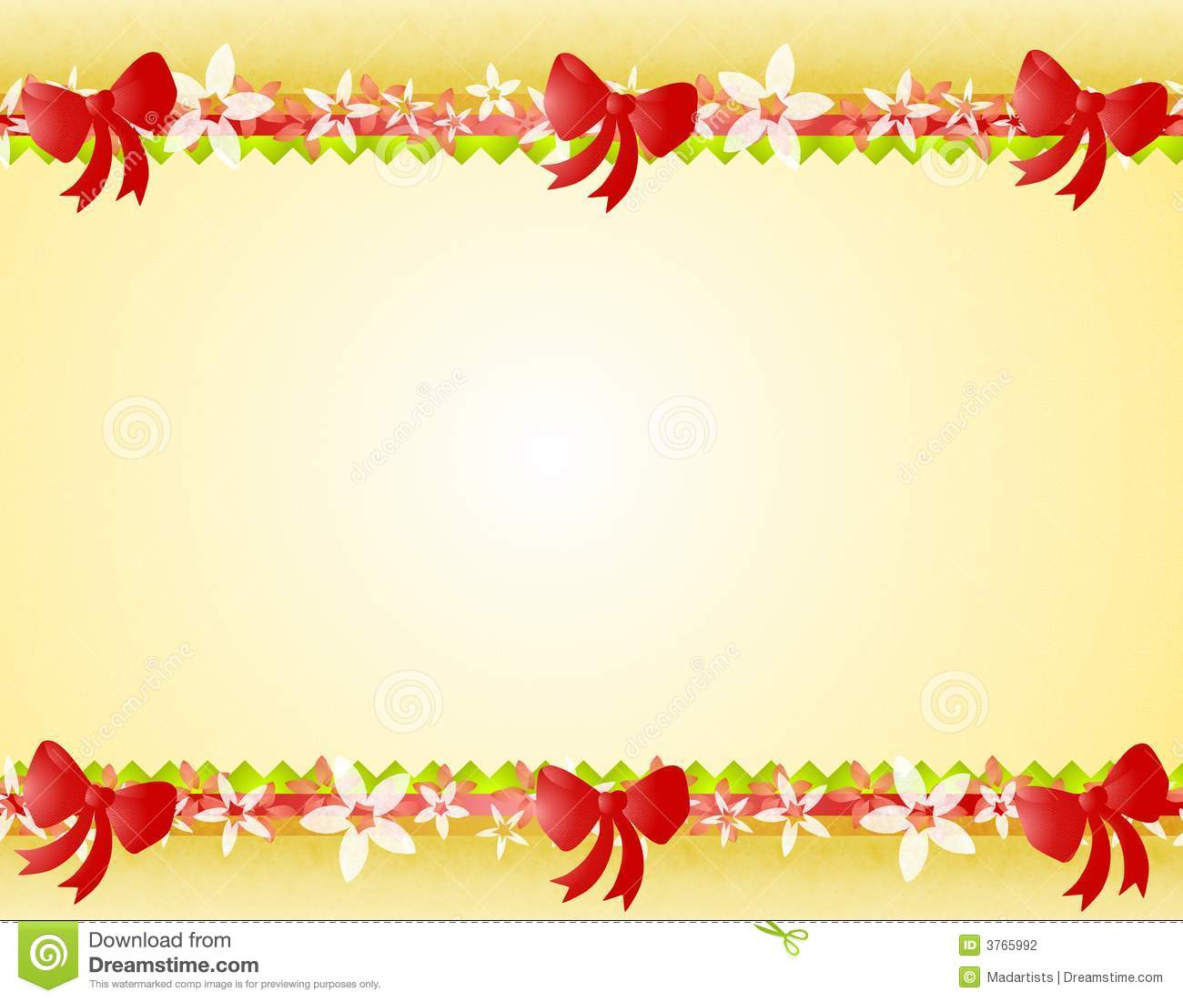 ... bottom border decorated with poinsettia designs, ribbon, and red bows