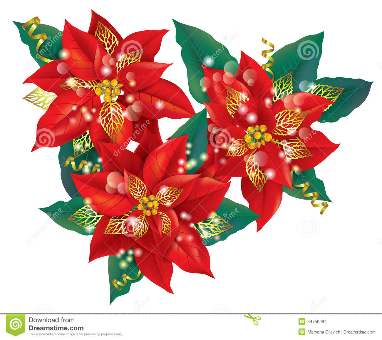 christmas poinsettia with golden decorations