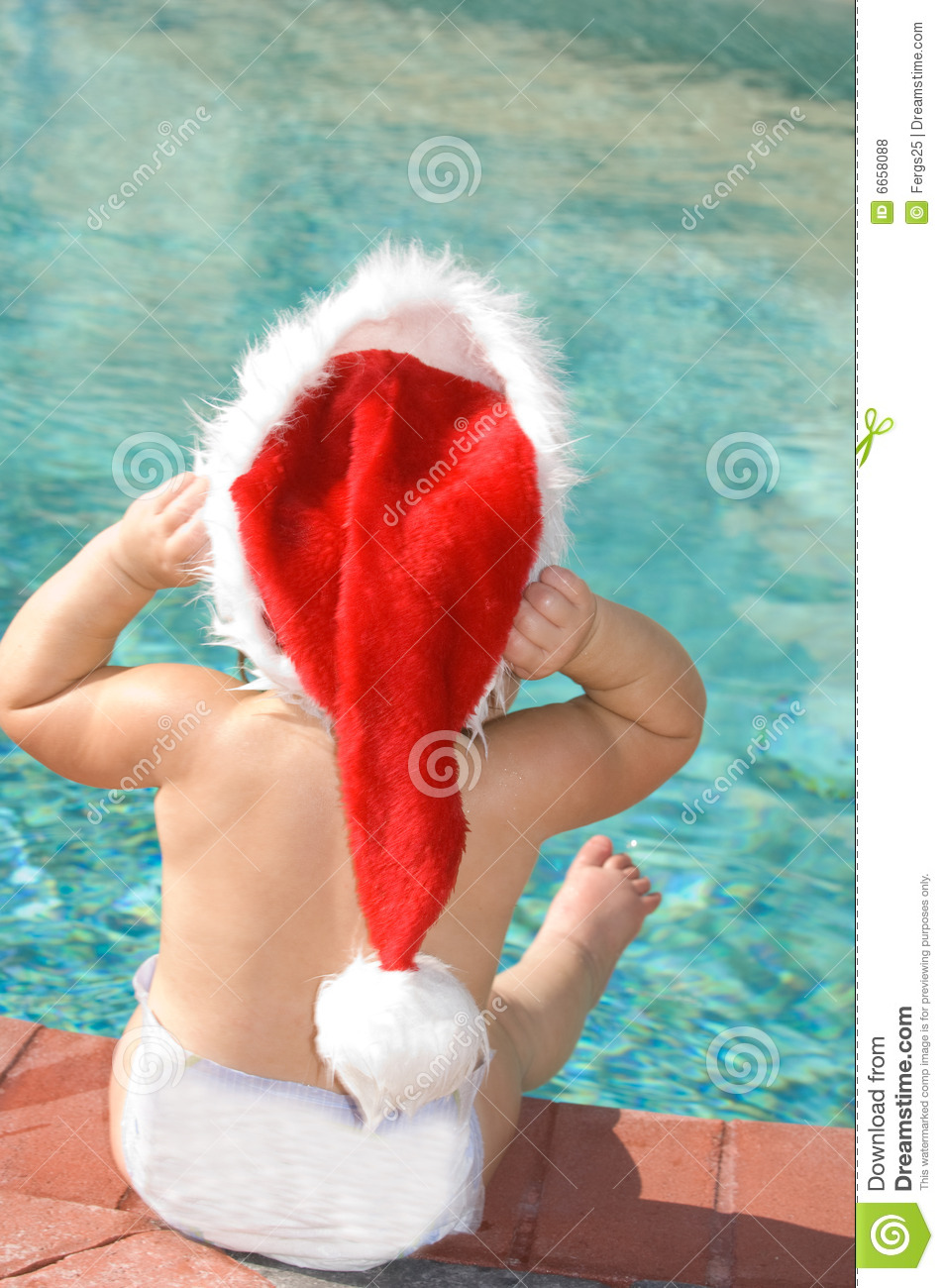 Christmas By The Pool Stock Photo Image Of Sitting Warm 6658088