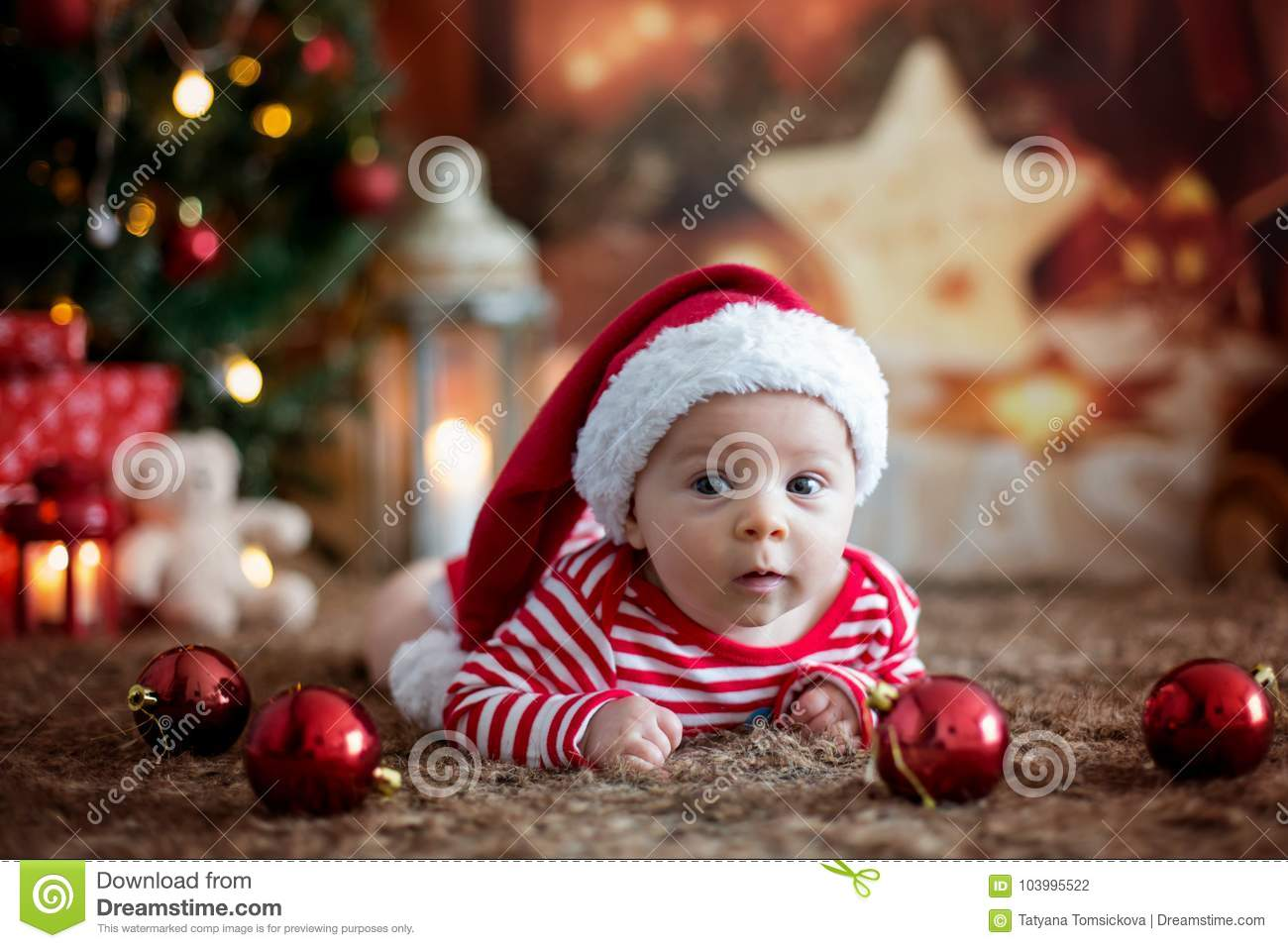 0891c5569ee4a Christmas Portrait Of Cute Little Newborn Baby Boy Stock Photo ...