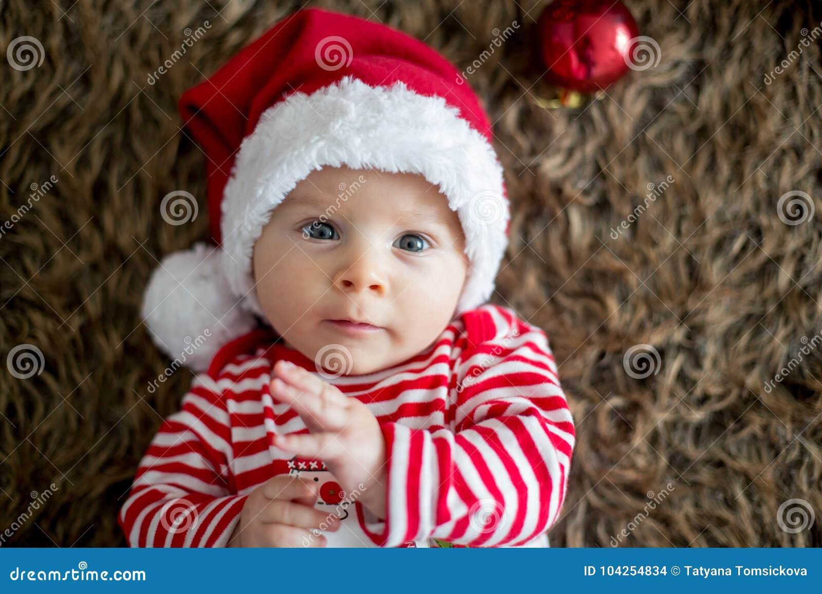 fcf7a4d0265b7 Christmas Portrait Of Cute Little Newborn Baby Boy Stock Photo ...
