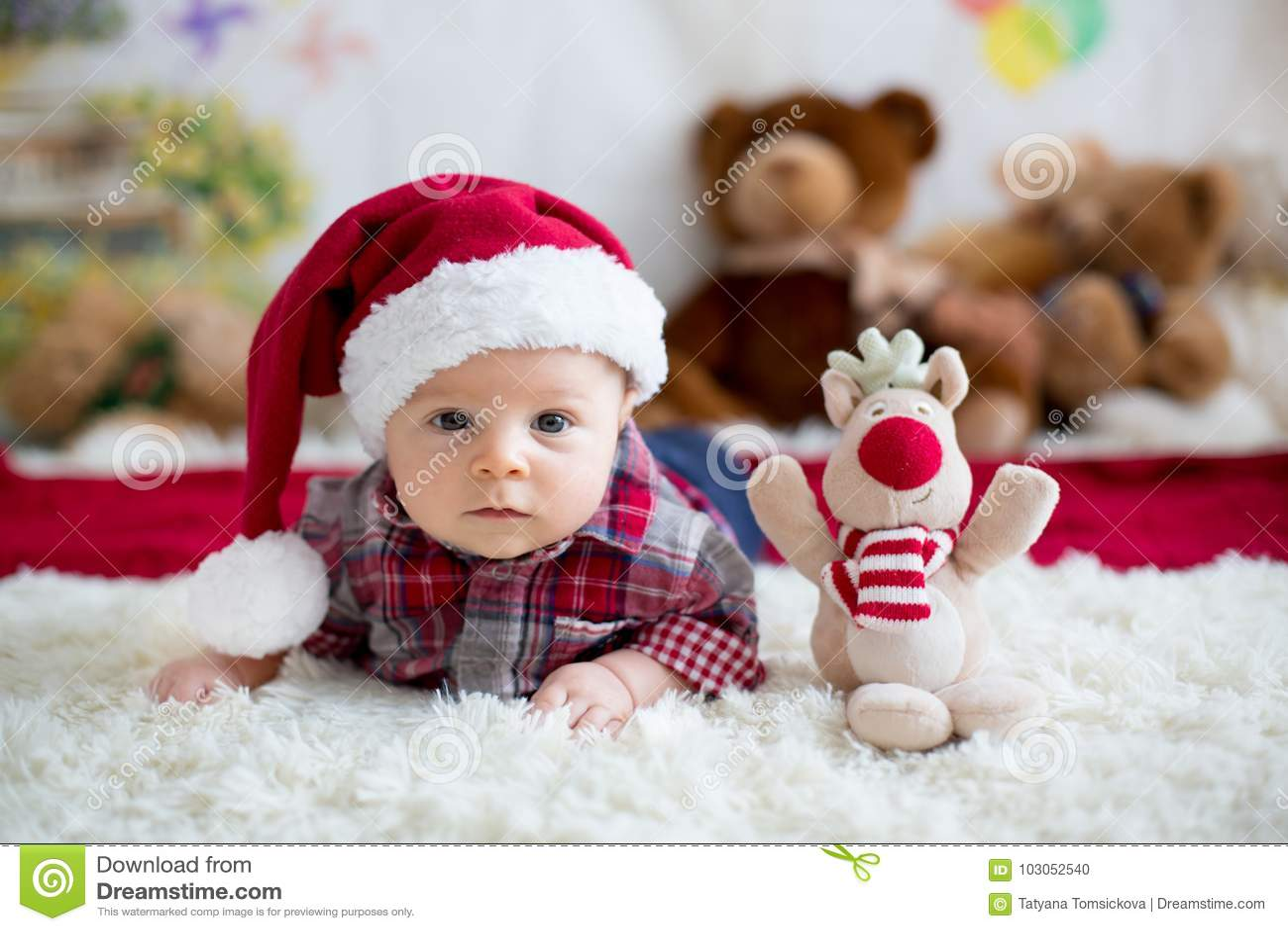 Studio C Christmas.Christmas Portrait Of Cute Little Newborn Baby Boy Dressed