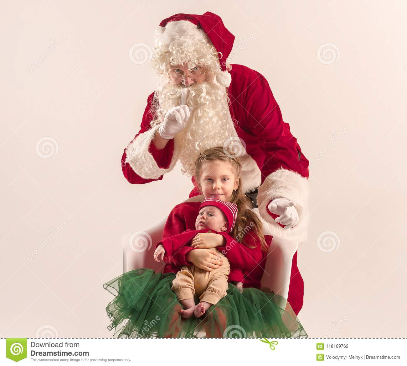 759663739 Christmas Portrait Of Cute Little Newborn Baby Girl