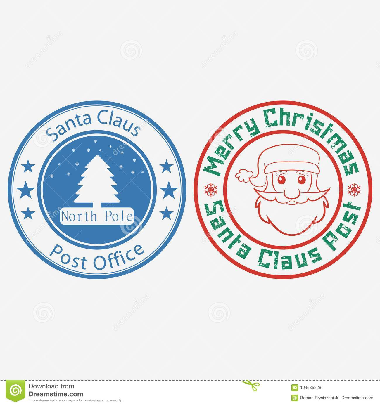 christmas post stamp vector illustration stock vector