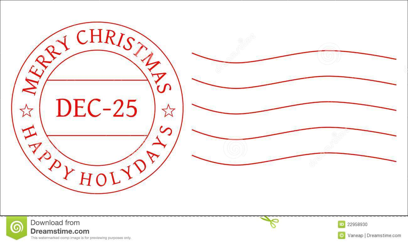 Red Christmas postage stamp to be used by designers. Vector [eps ...