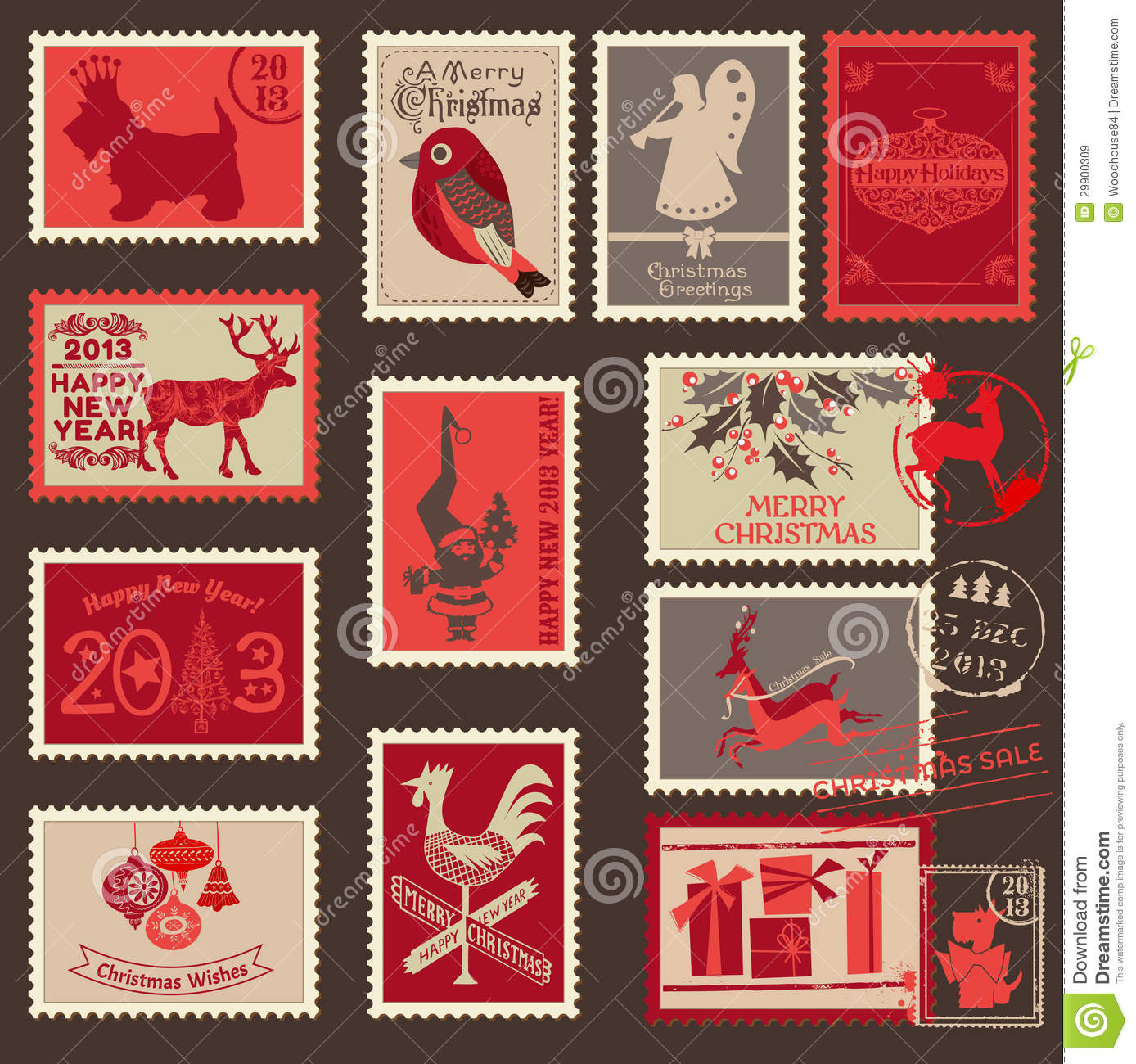christmas postage stamps stock vector illustration of invitation