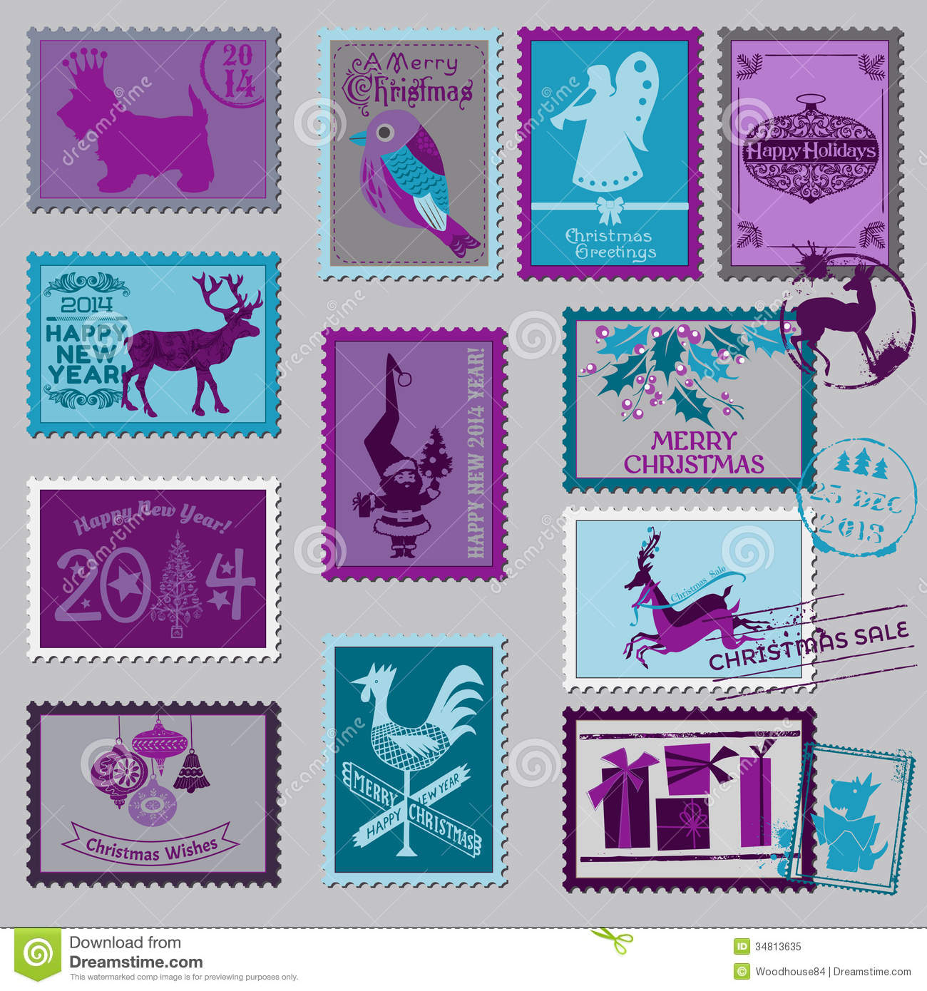 Christmas Postage Stamps Royalty Free Stock Photo Image 34813635