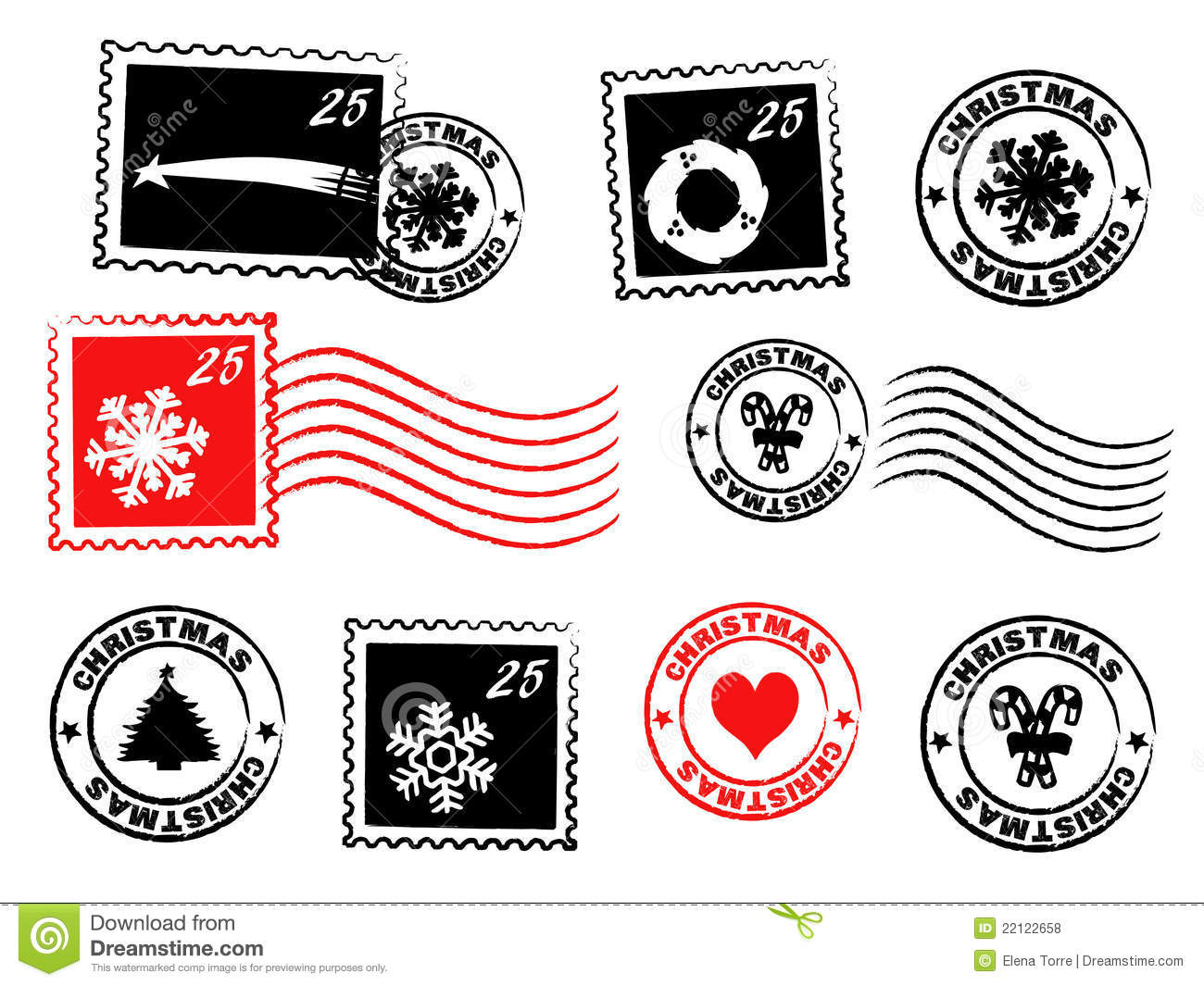Christmas postage set with stamps and rubber stamps + vector eps file.