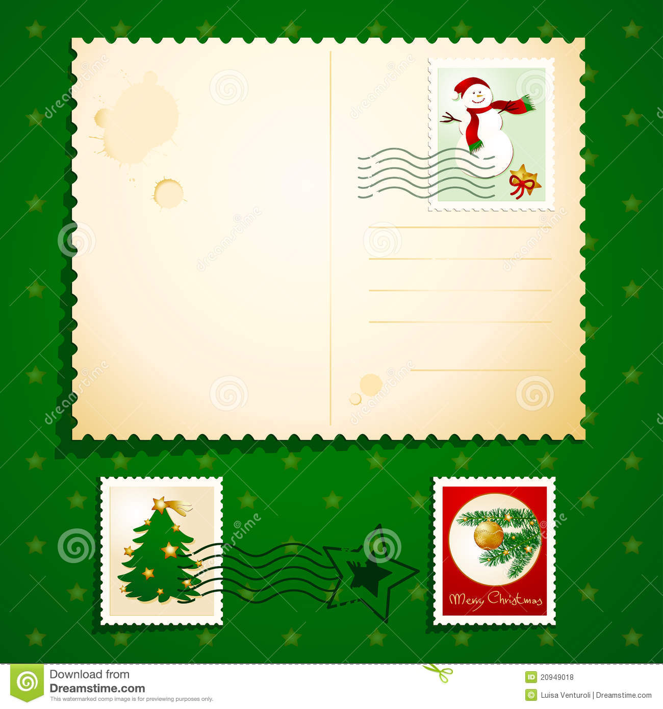christmas postcard stock illustration image of blank