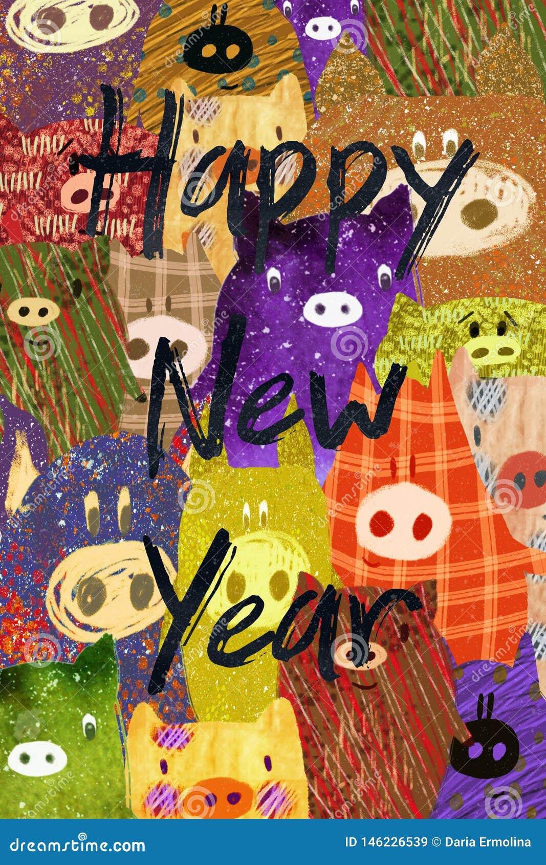 Christmas postcard with pig