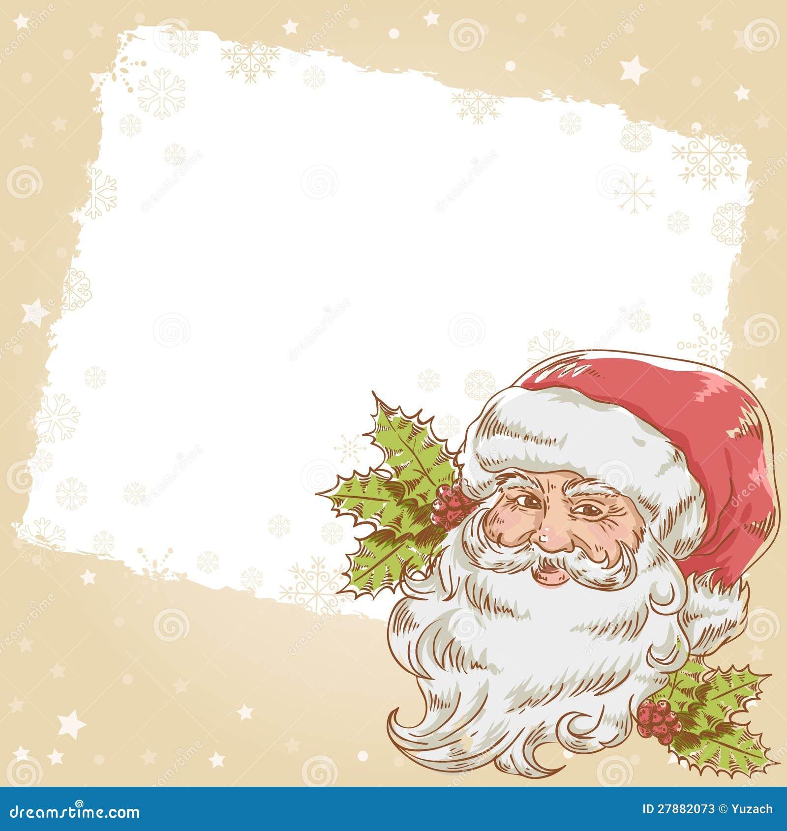 Christmas postcard with smiling santa claus stock photos