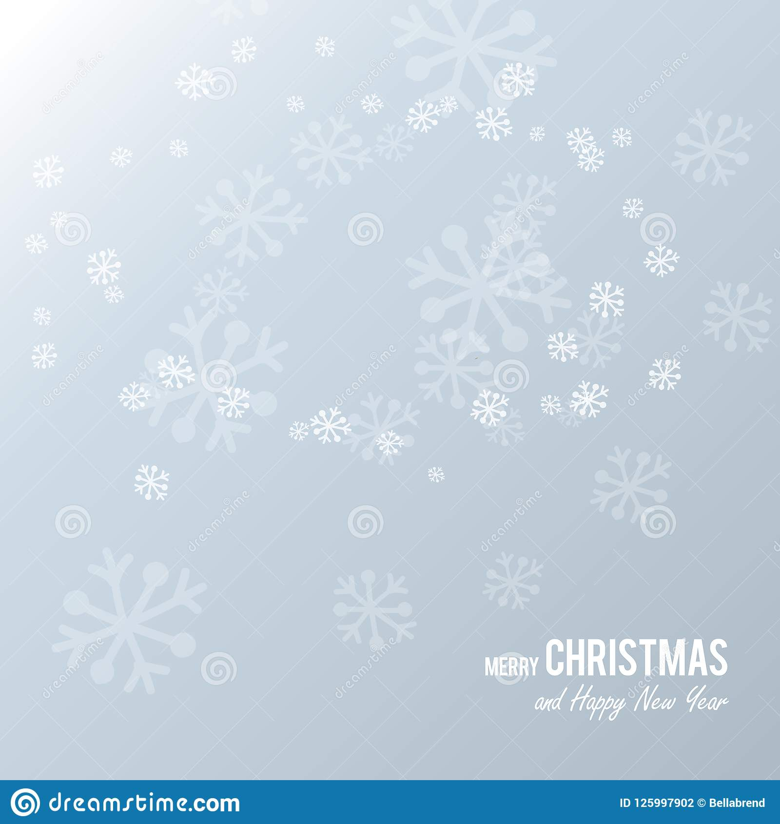Christmas Postcard with white paper snowflakes on a light blue background.