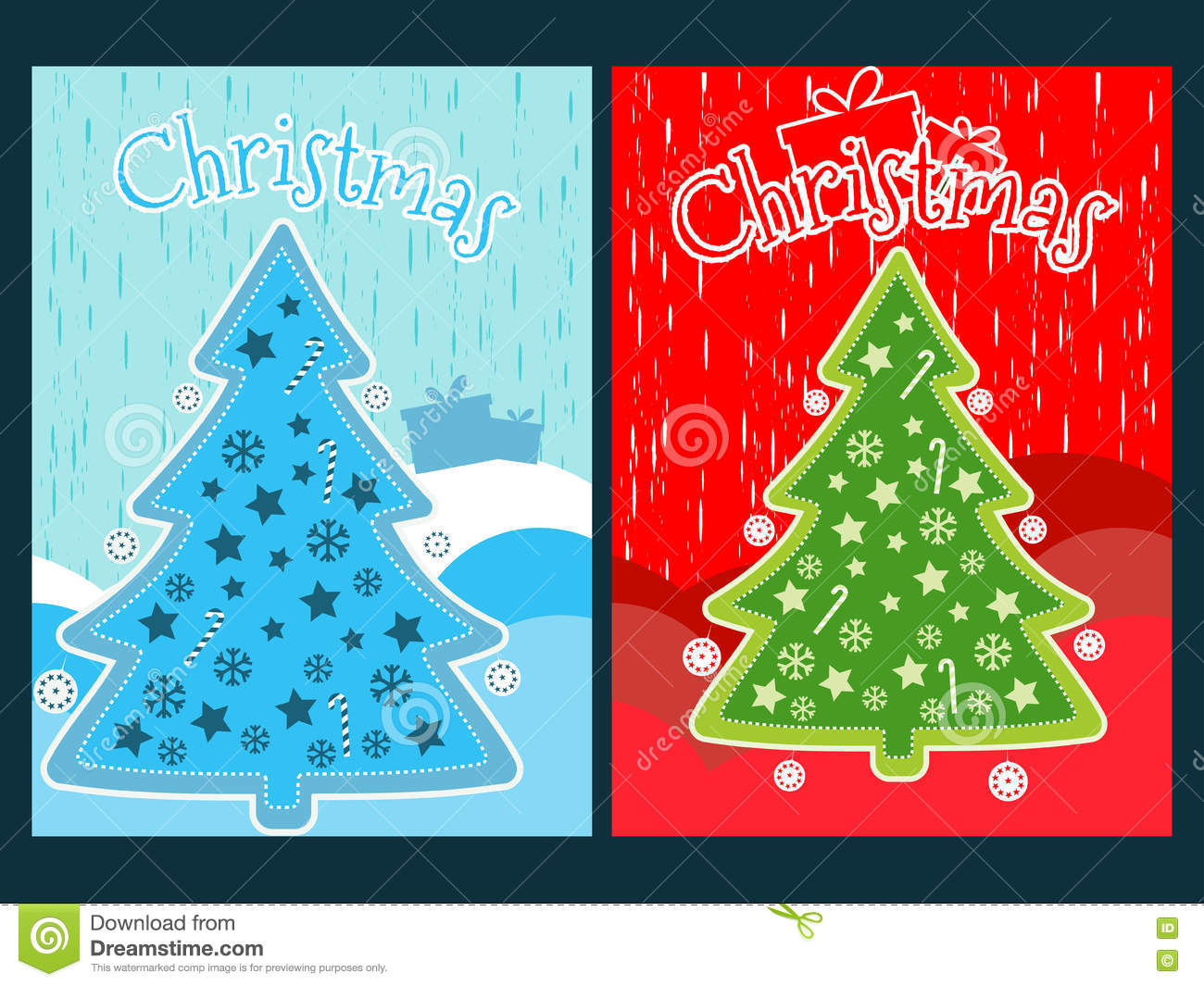 Christmas poster with a Christmas tree and ornaments. New Year celebration collage.