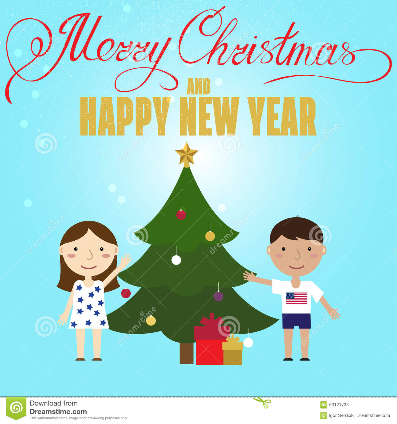 Xmas poster design - Christmas Poster Design With Children And Christmas Tree Stock Vector
