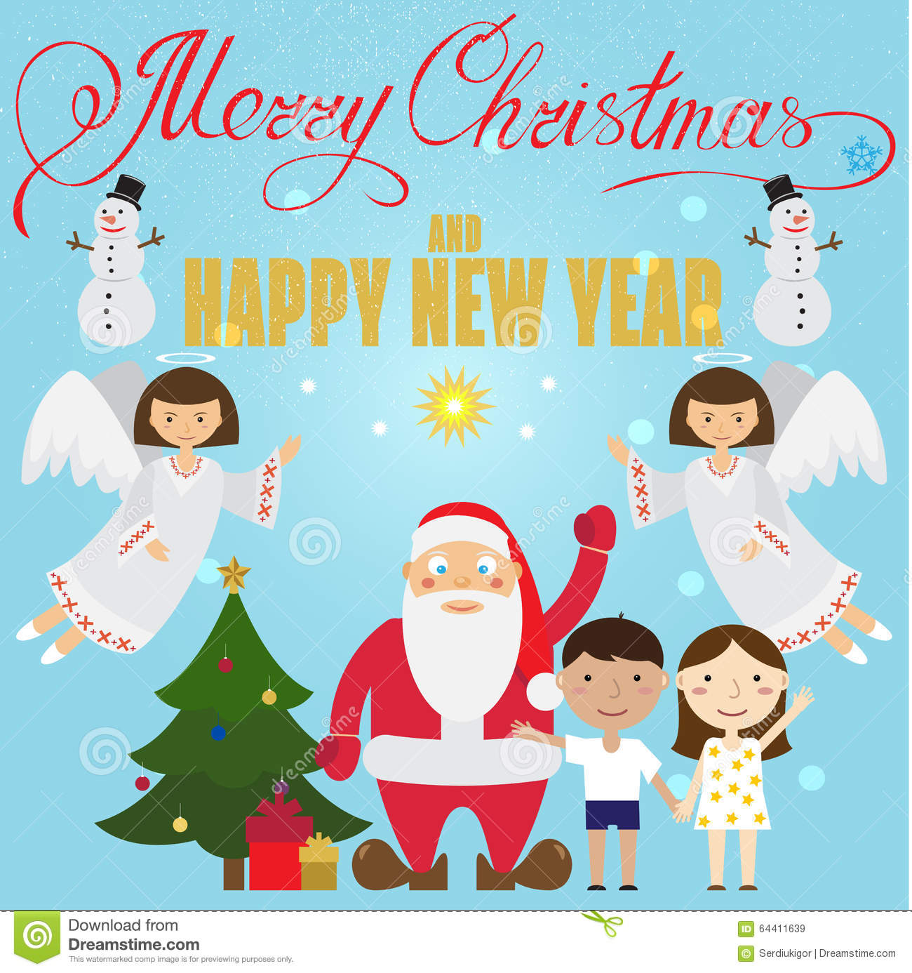 Xmas poster design - Christmas Poster Design With Santa Claus Angel Children Royalty Free Stock Images