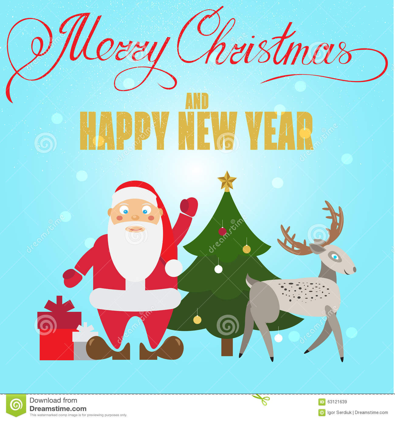 Xmas poster design - Christmas Poster Design With Santa Claus Deer Christmas Tree