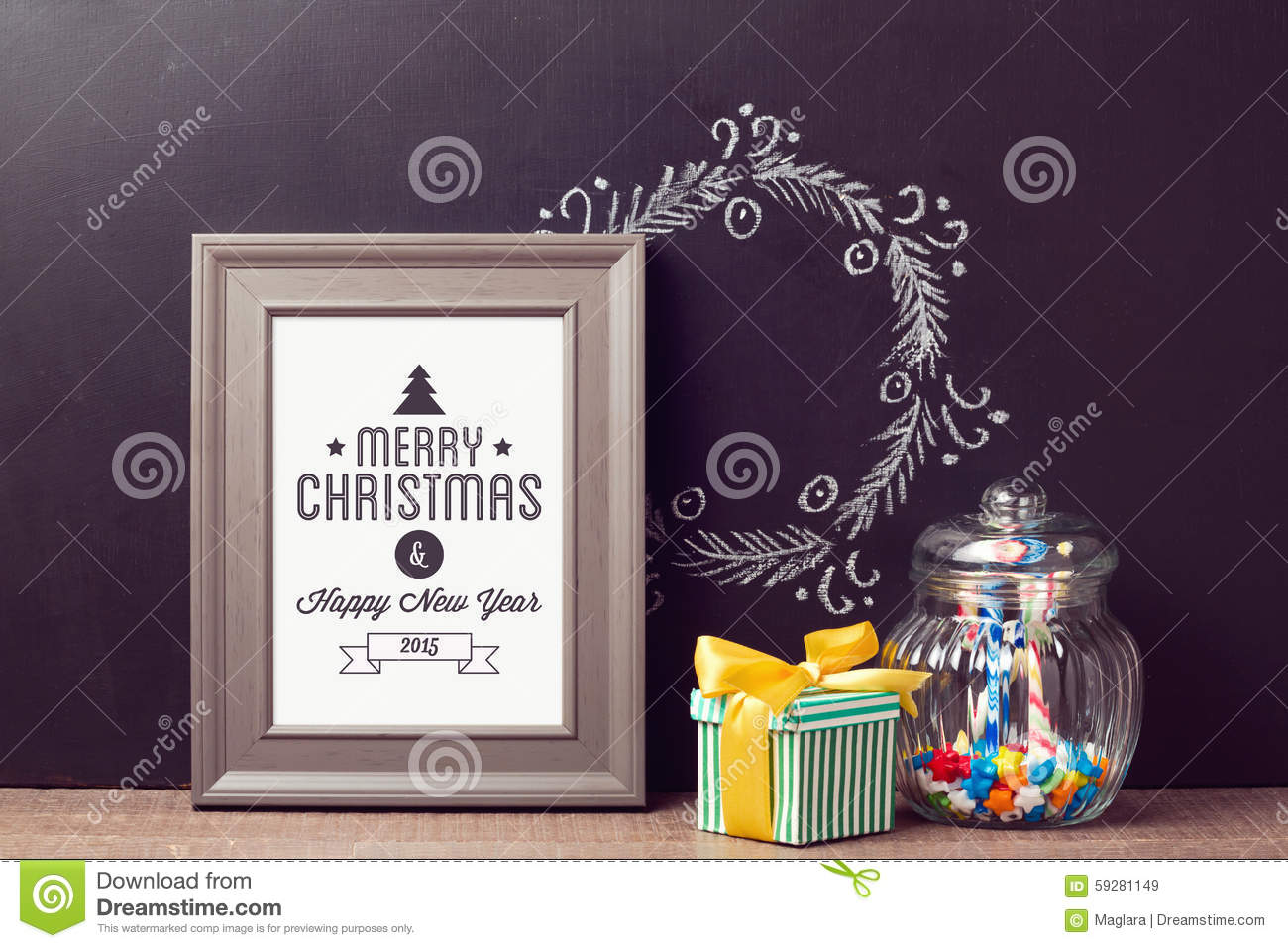Free christmas poster design templates - Christmas Poster Mock Up Template With Candy Jar Over Chalkboard Background Stock Photo