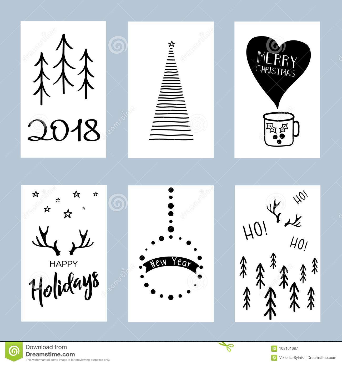 Christmas Posters Set Set Of Winter Holiday Card Templates Stock