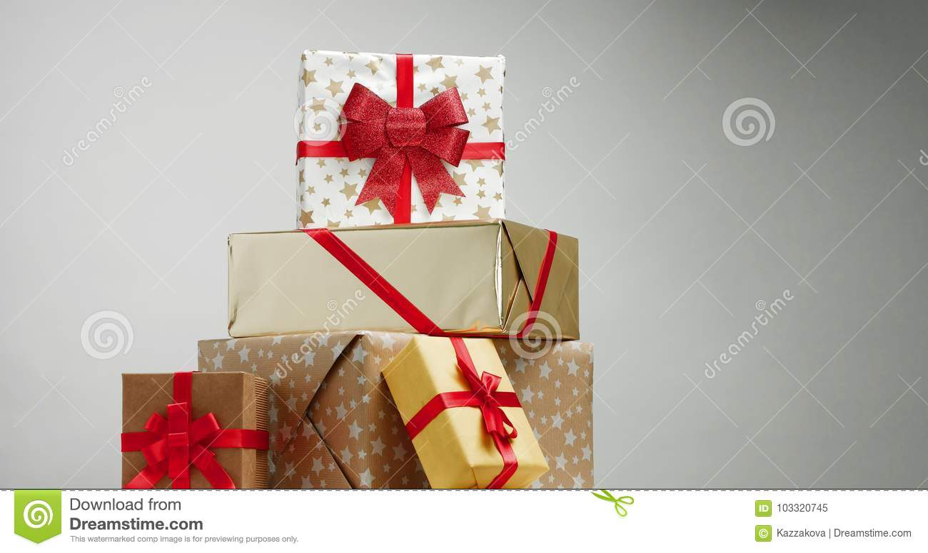 Christmas Presents In Beautiful Boxes Stock Image - Image of ...