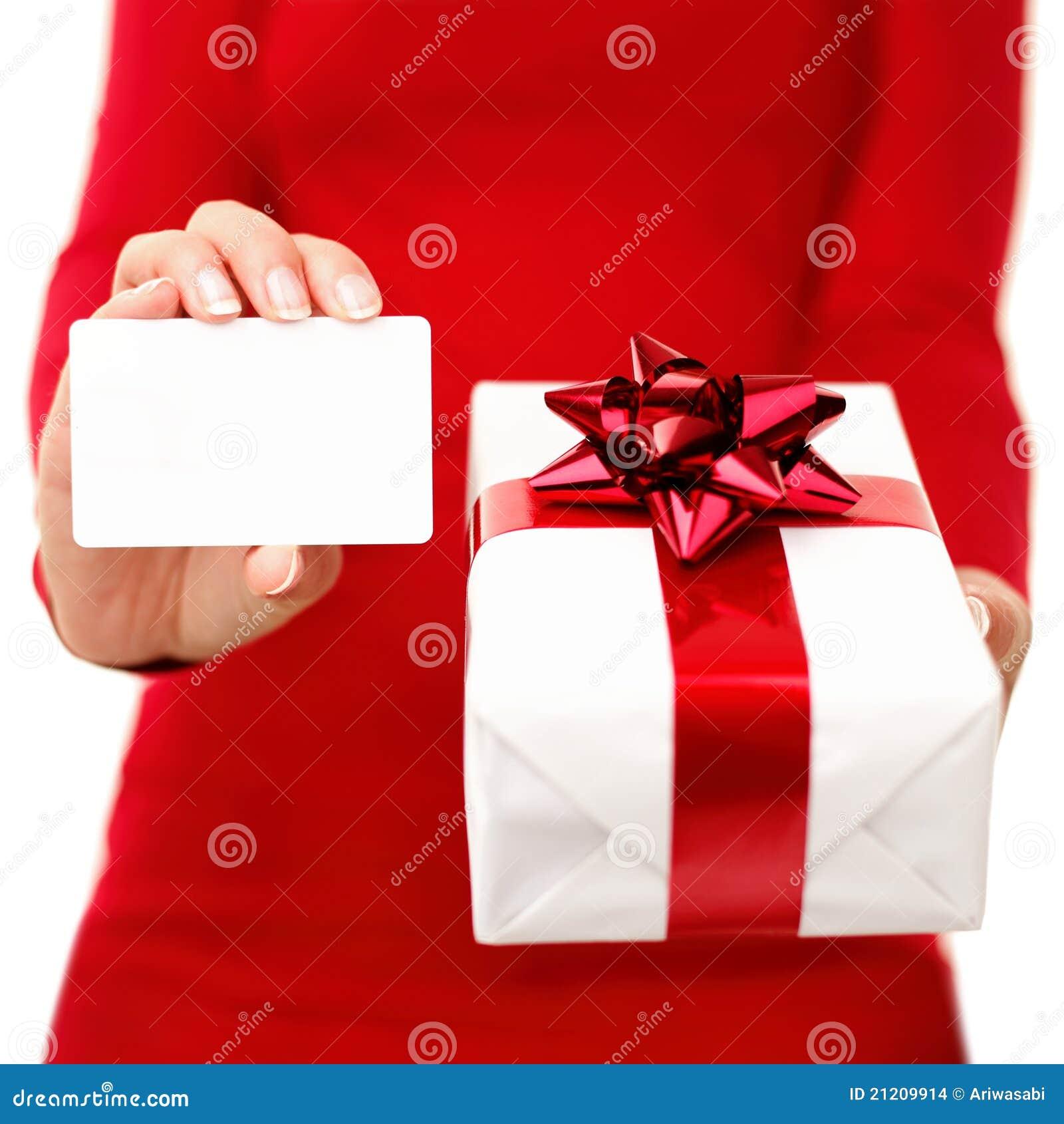 Christmas Present And Gift Card Stock Photo - Image of birthday ...