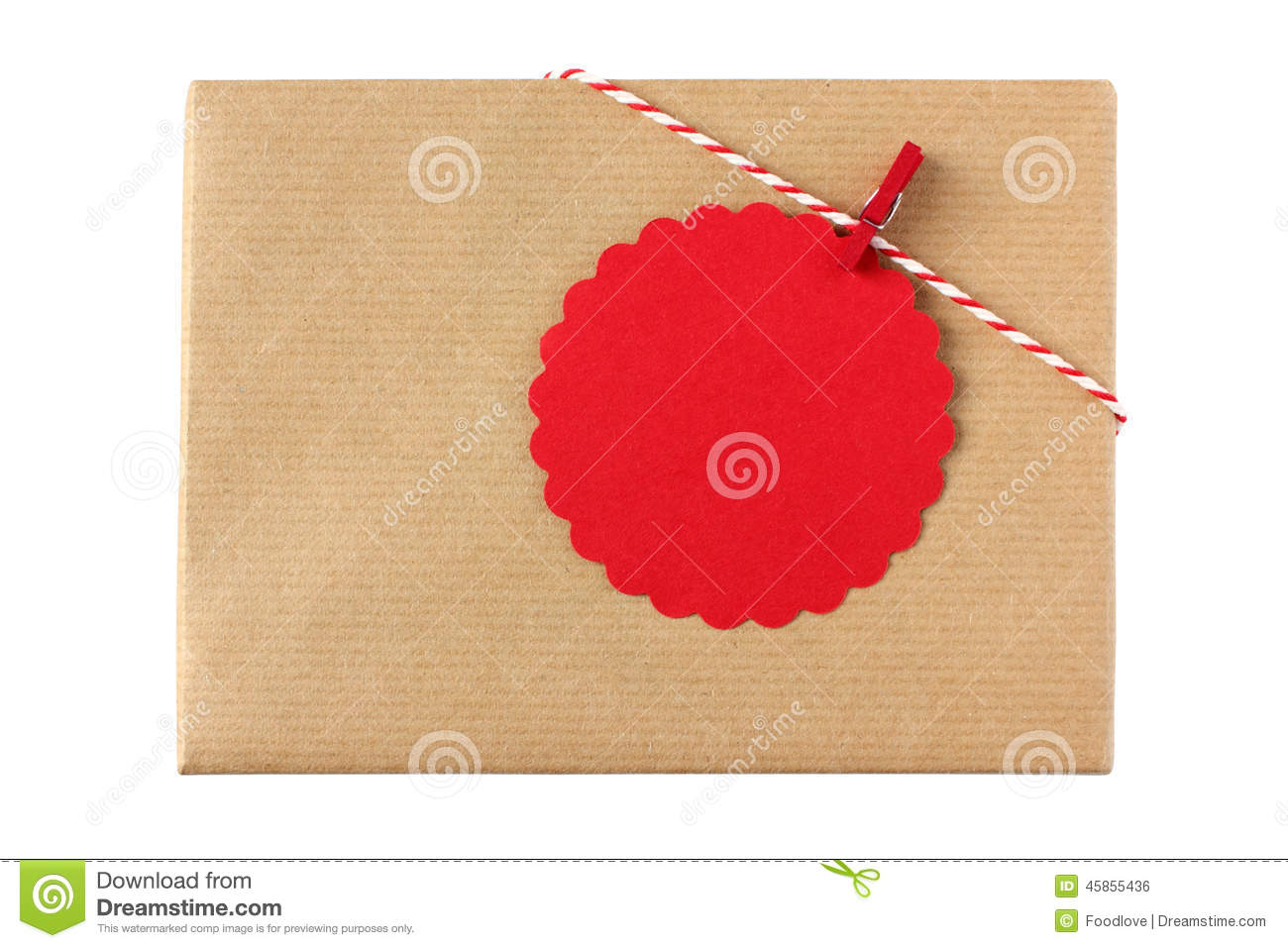 Christmas Present With Red Blank Gift Tag Stock Photo ...