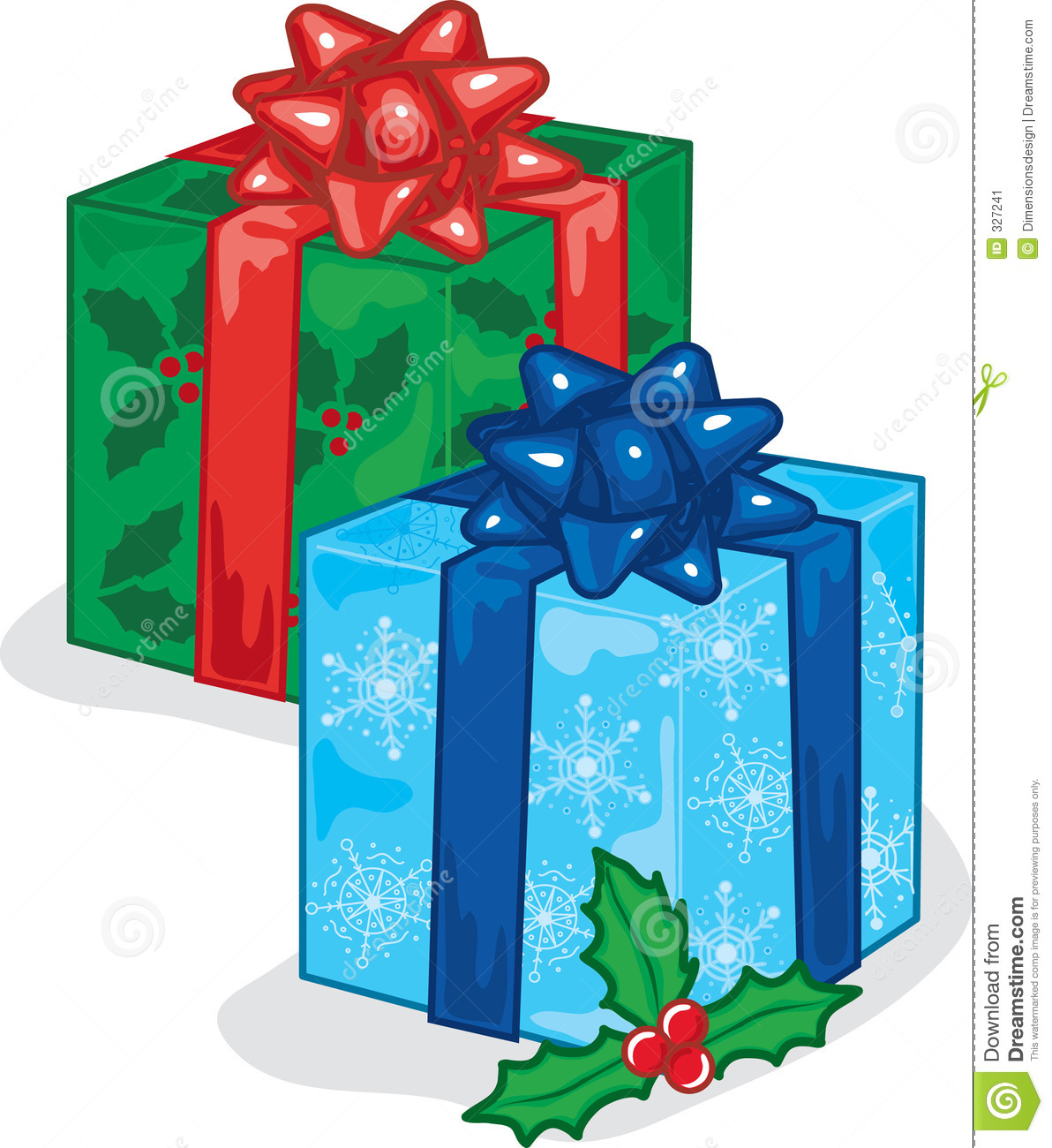 Color vibrant illustration of beautifully wrapped christmas presents
