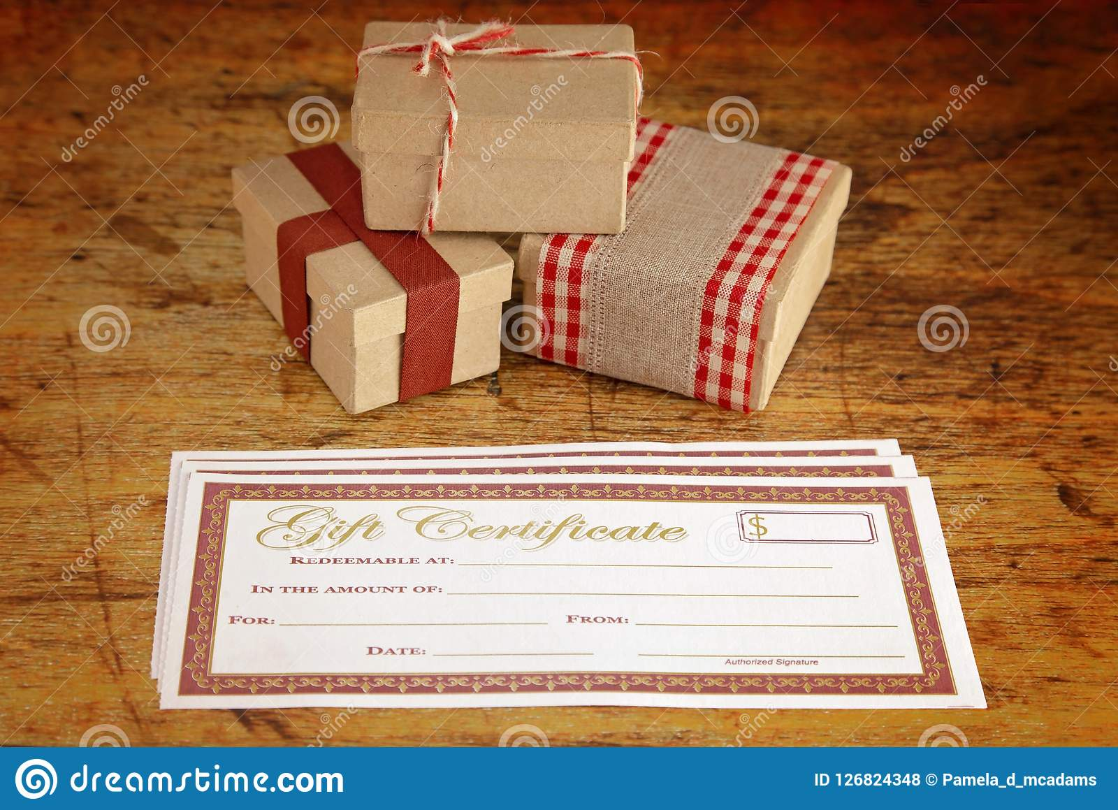 christmas presents and blank gift certificate stock photo image of