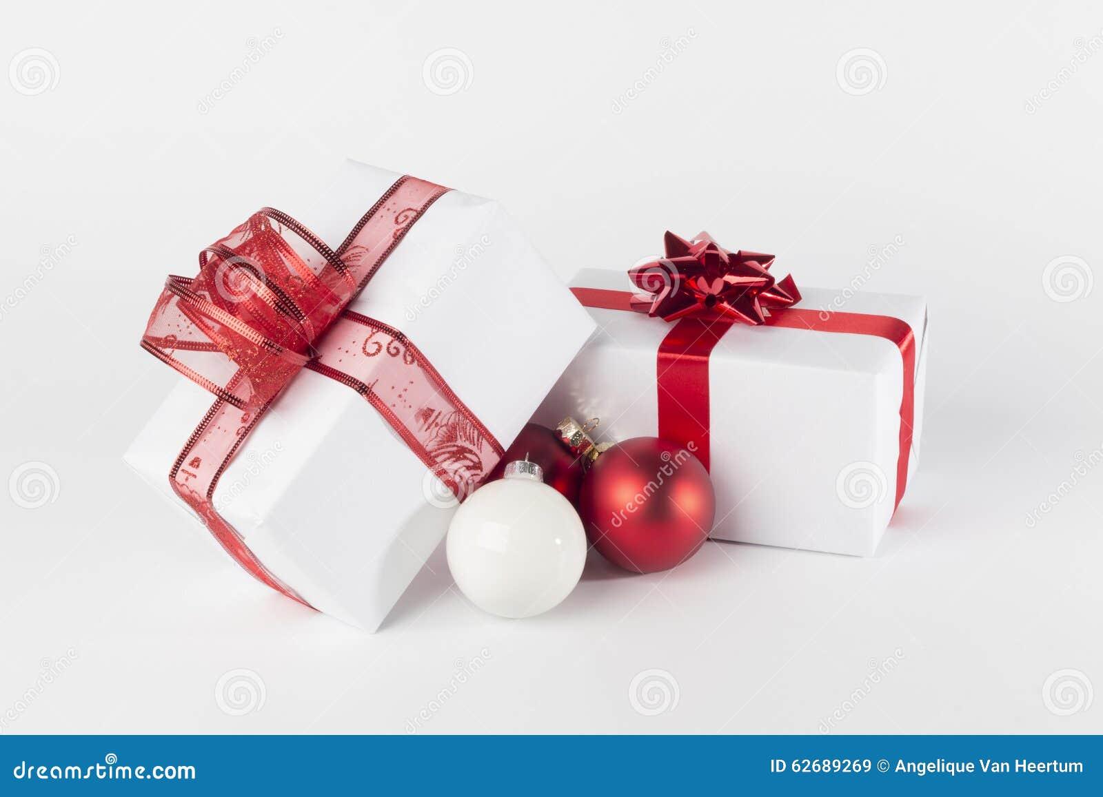 Christmas Presents And Christmas Balls, Isolated Stock Image - Image ...
