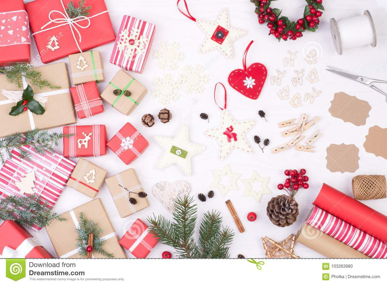 Christmas Presents And Decoration On White Wooden Background Stock ...
