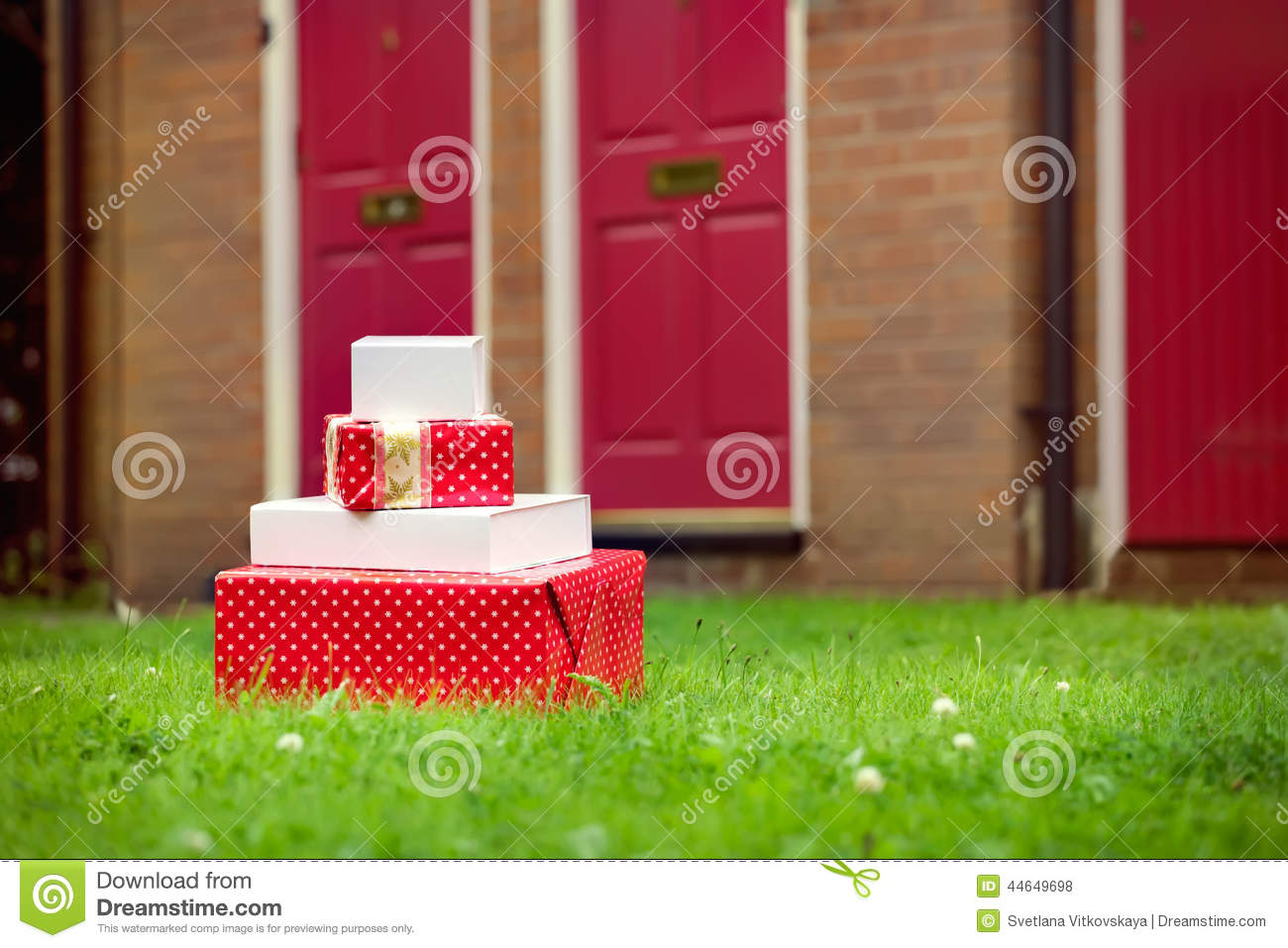 Christmas Presents Delivered To House Front Door In Summer Stock ...