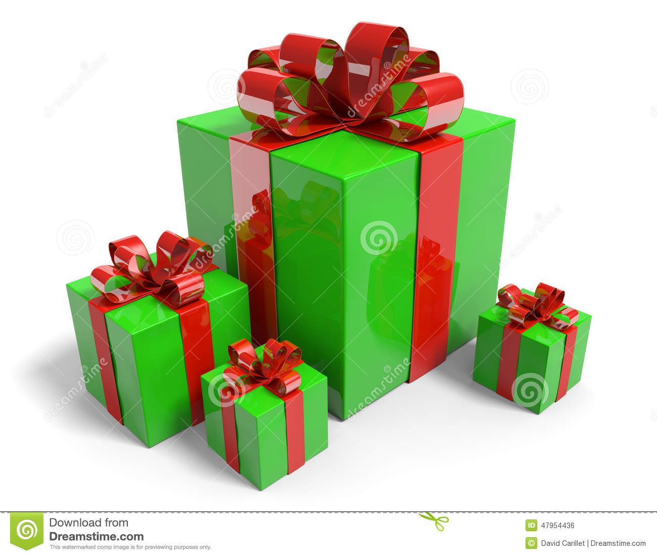 Christmas presents in gift boxes with shiny green wrapping