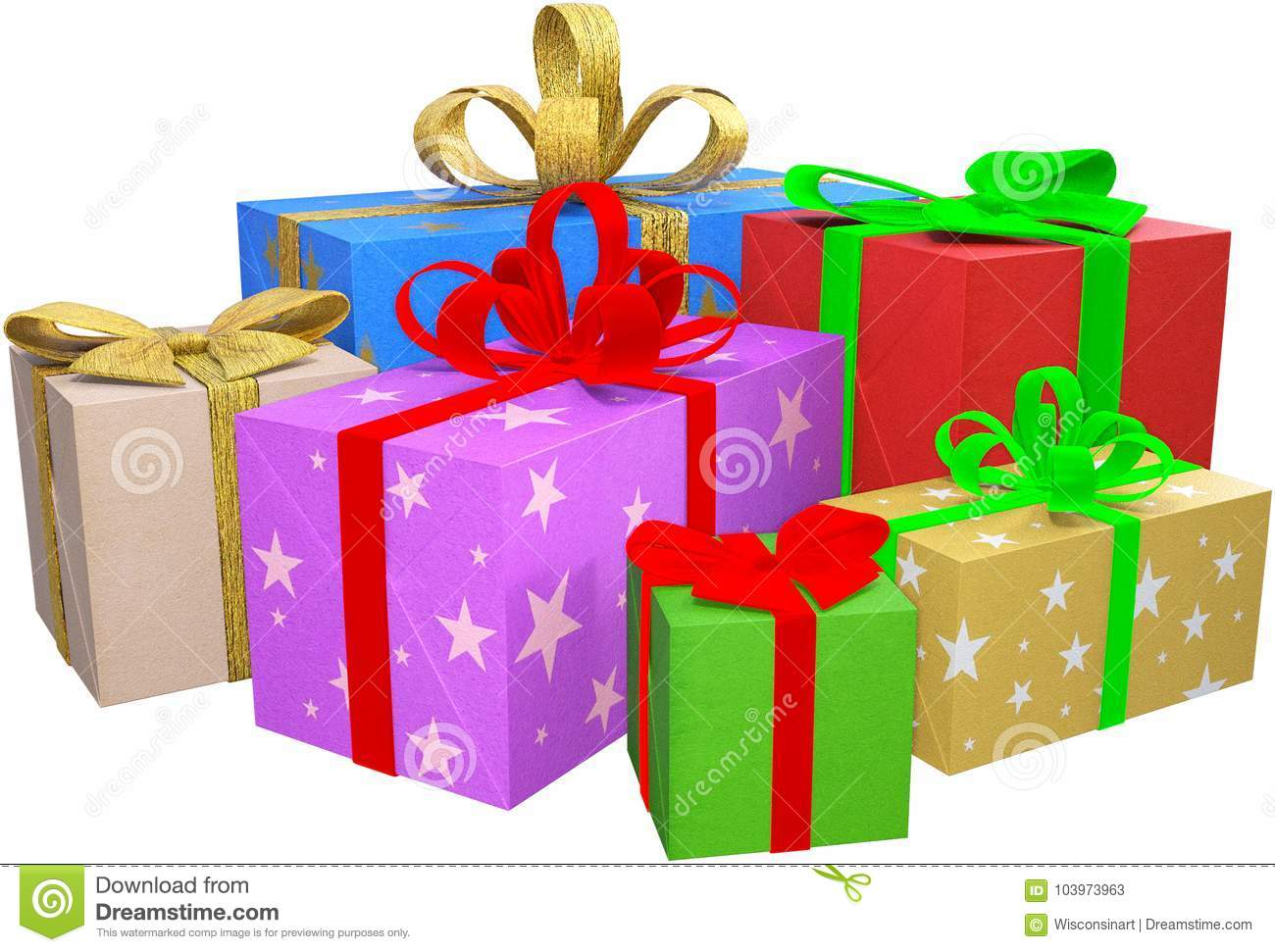 Christmas Gift Packages.Christmas Presents Gifts Packages Isolated Stock Image