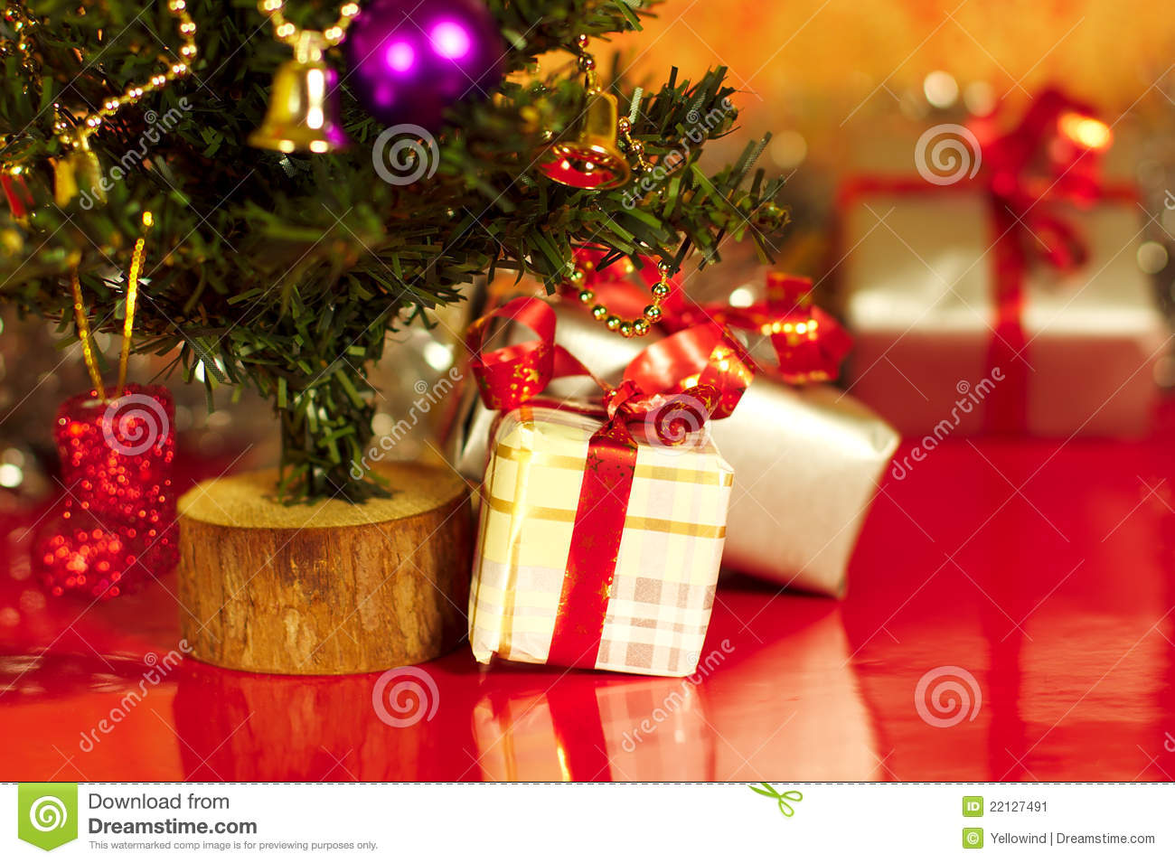 christmas presents or gifts under tree