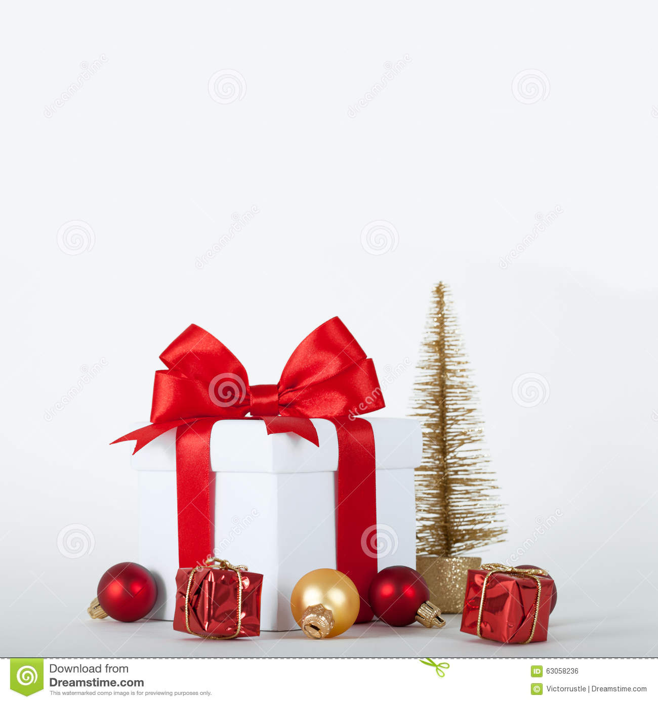 Christmas Presents And Ornaments On White Background Stock Photo ...