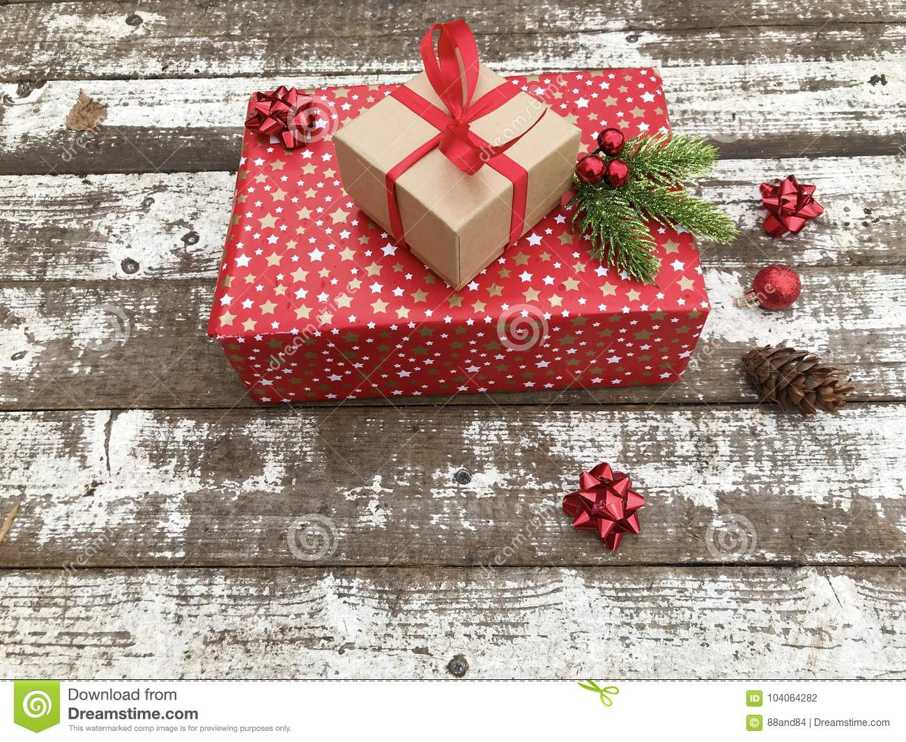 Christmas Presents With Red Ribbon Stock Photo - Image of funny ...