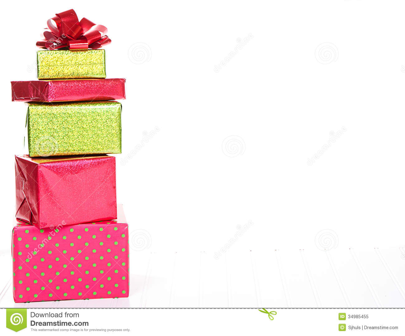 Christmas Presents Stacked Royalty Free Stock Photo - Image: 34985455