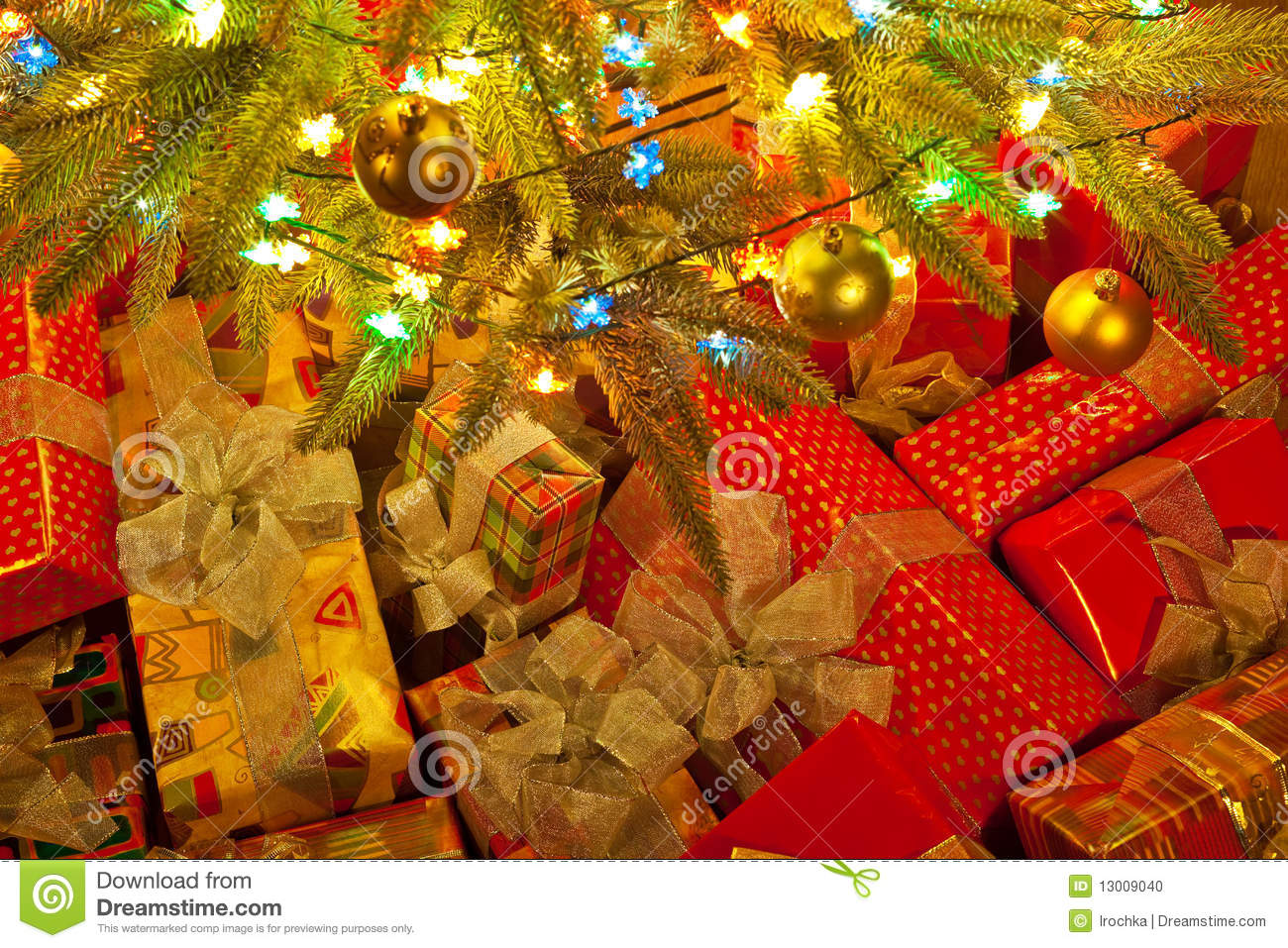 Christmas presents under tree stock photo image