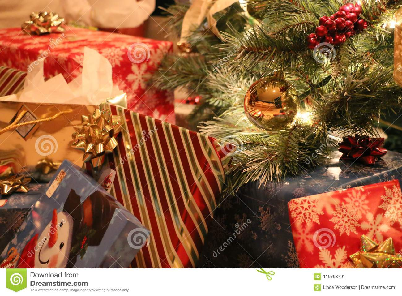 Christmas Presents Under The Tree Christmas Morning Stock Image ...