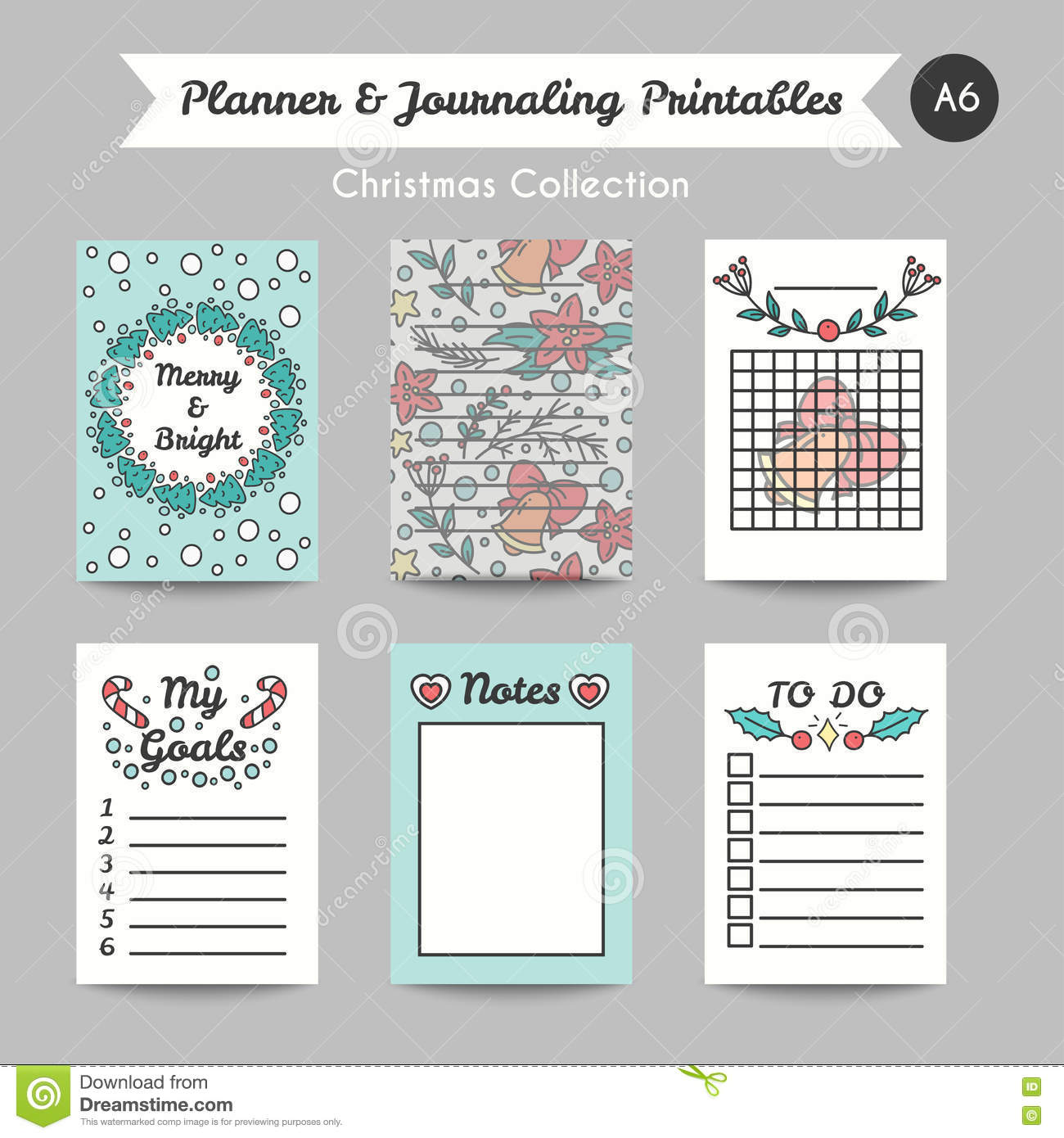Christmas Printable Journaling Cards. Line Style Jornal Pages Stock ...