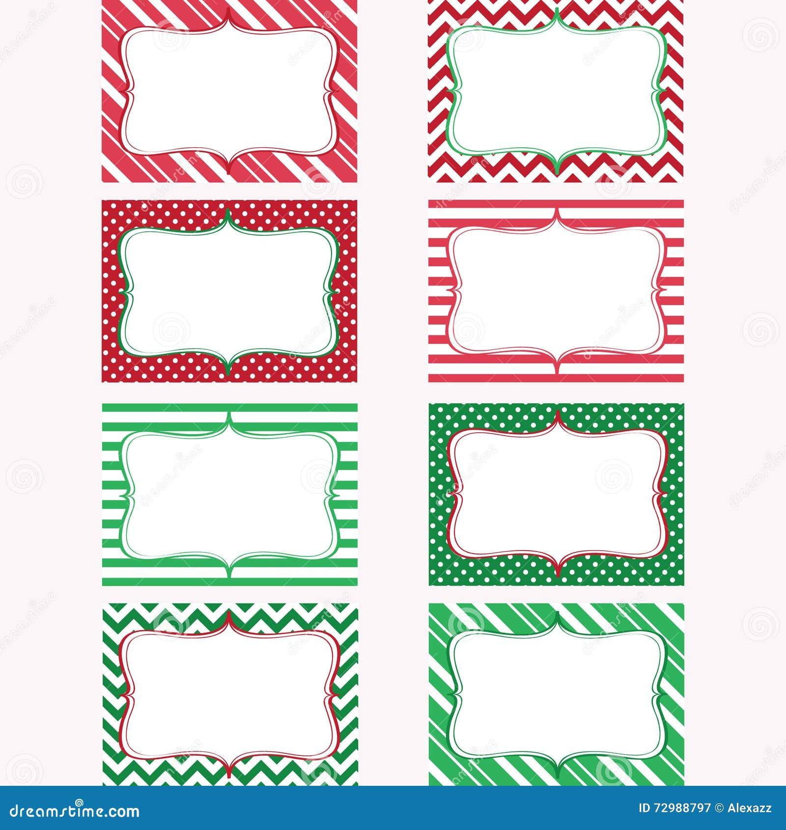 christmas printable labels set tags photo frame stock vector