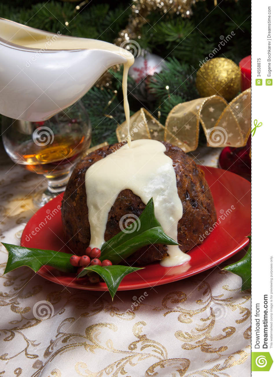 Christmas Pudding With White Sauce Royalty Free Stock