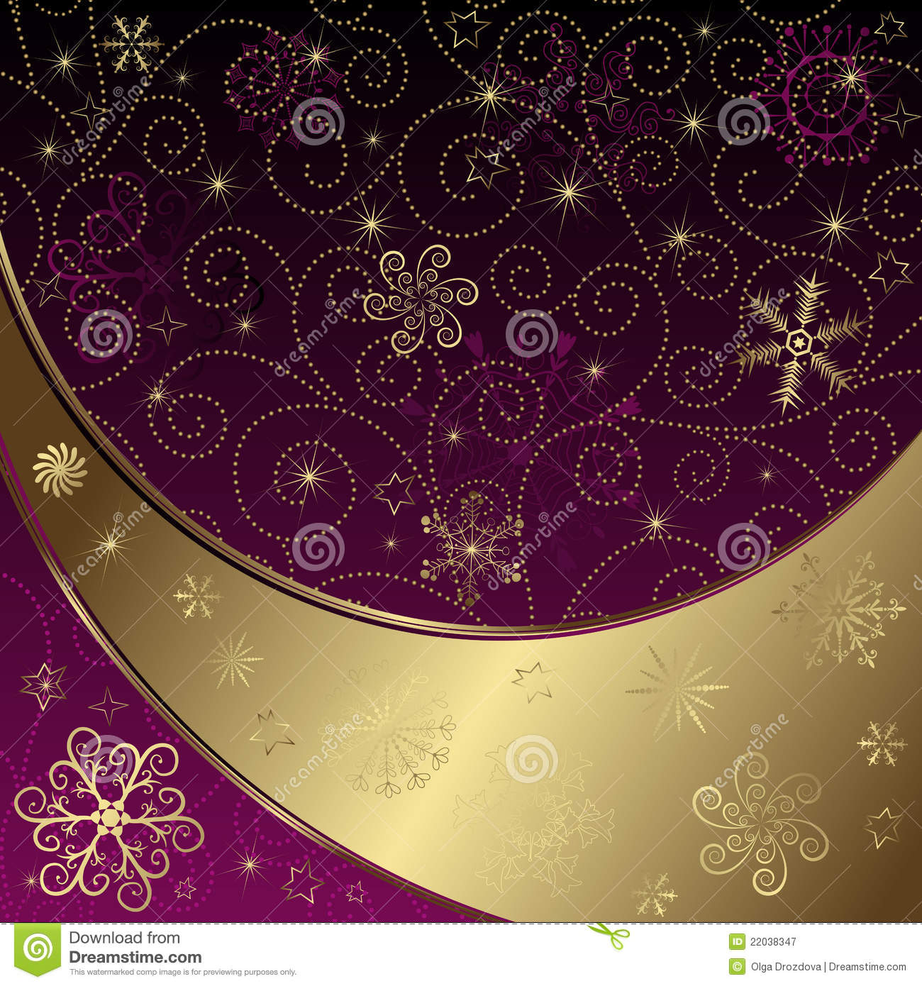 Christmas Purple Gold Frame Stock Vector Illustration