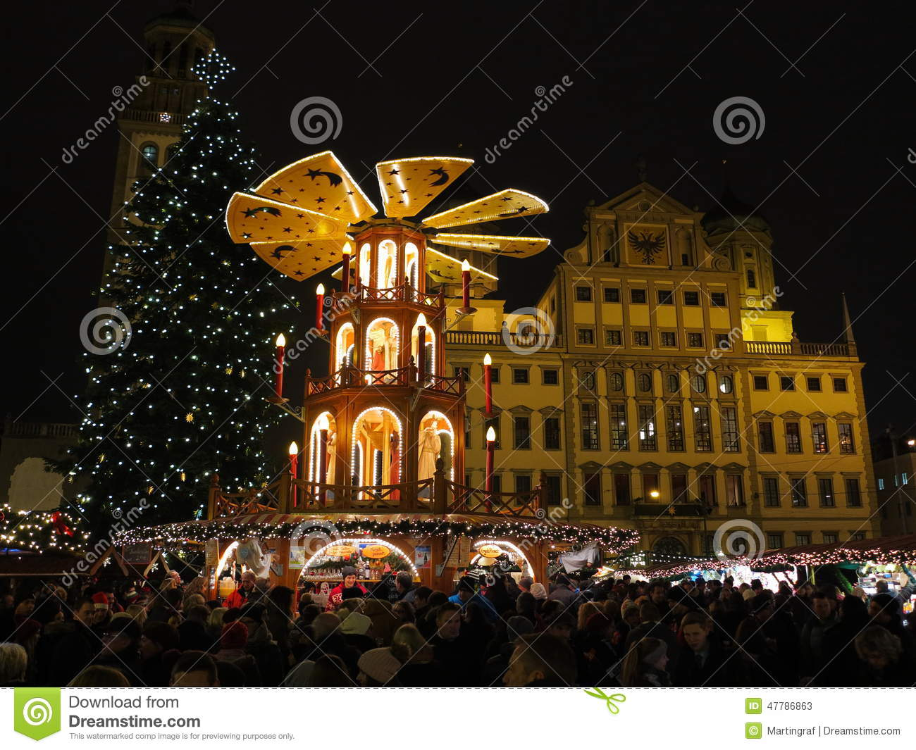 christmas market at city hall in augsburg editorial stock photo image of germany decoration. Black Bedroom Furniture Sets. Home Design Ideas