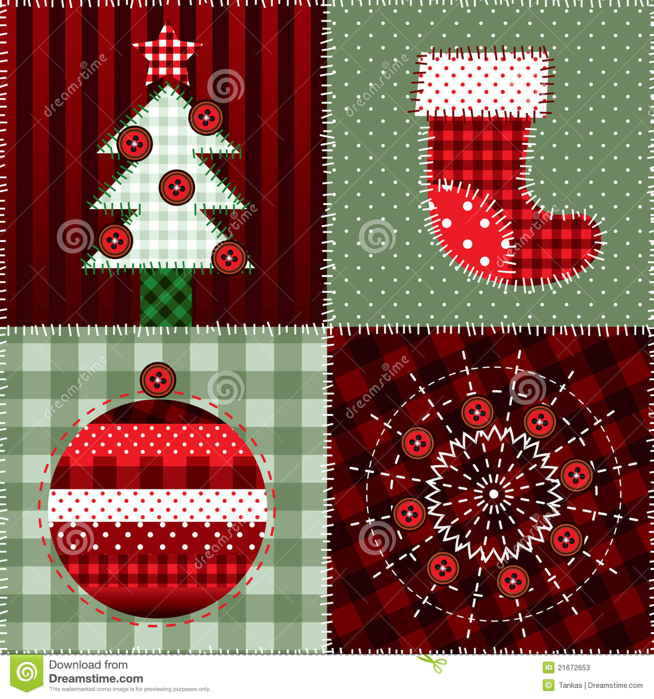 Christmas Quilt Pattern Stock Vector Illustration Of Tree 21672653