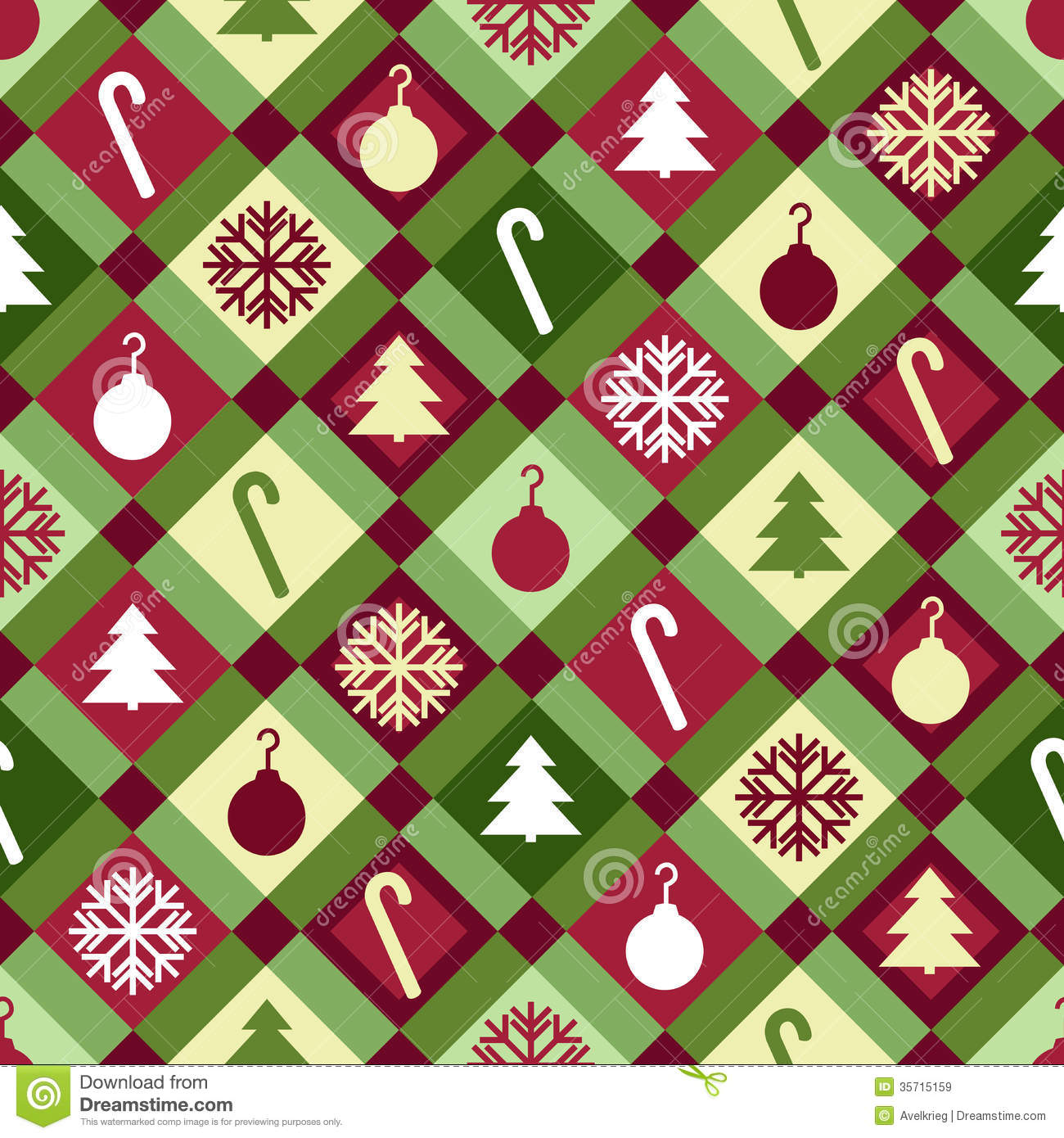 red, green and yellow Christmas quilt pattern. Seamlessly repeatable ...