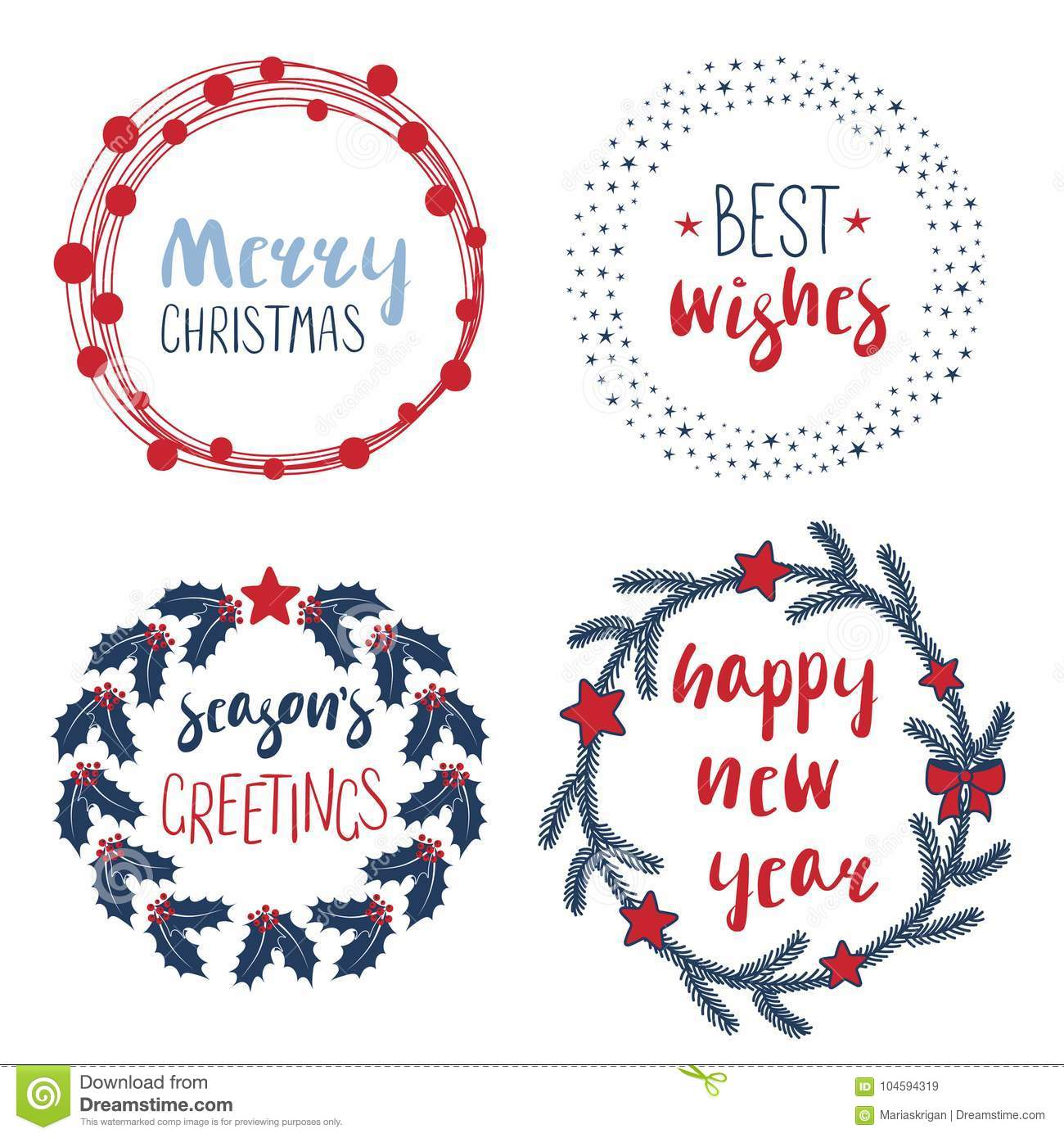Christmas Quotes In Wreathes And Round Frames Stock Vector ...